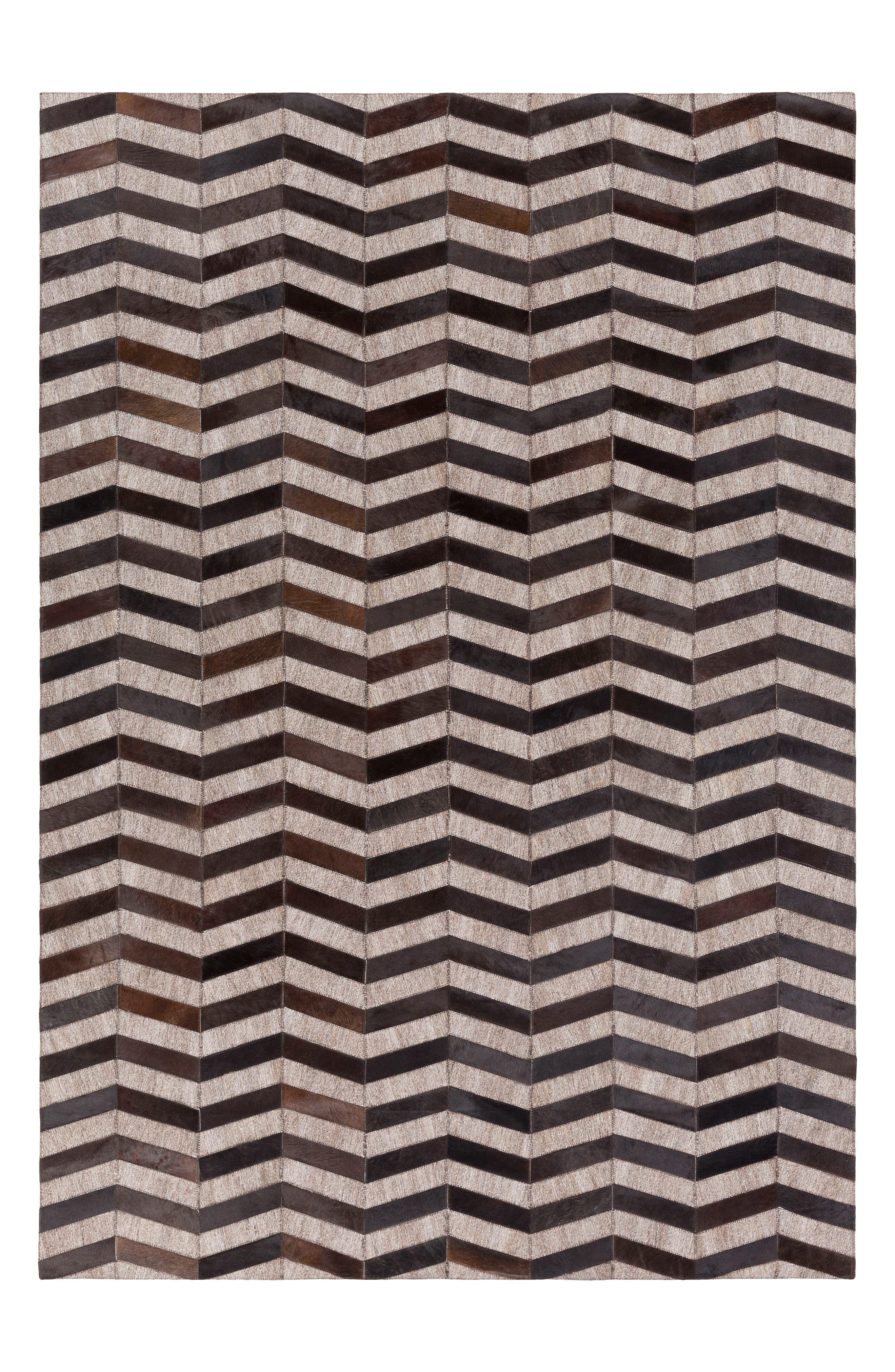 Medora Chevron Genuine Calf Hair Rug,                         Main,                         color, 001