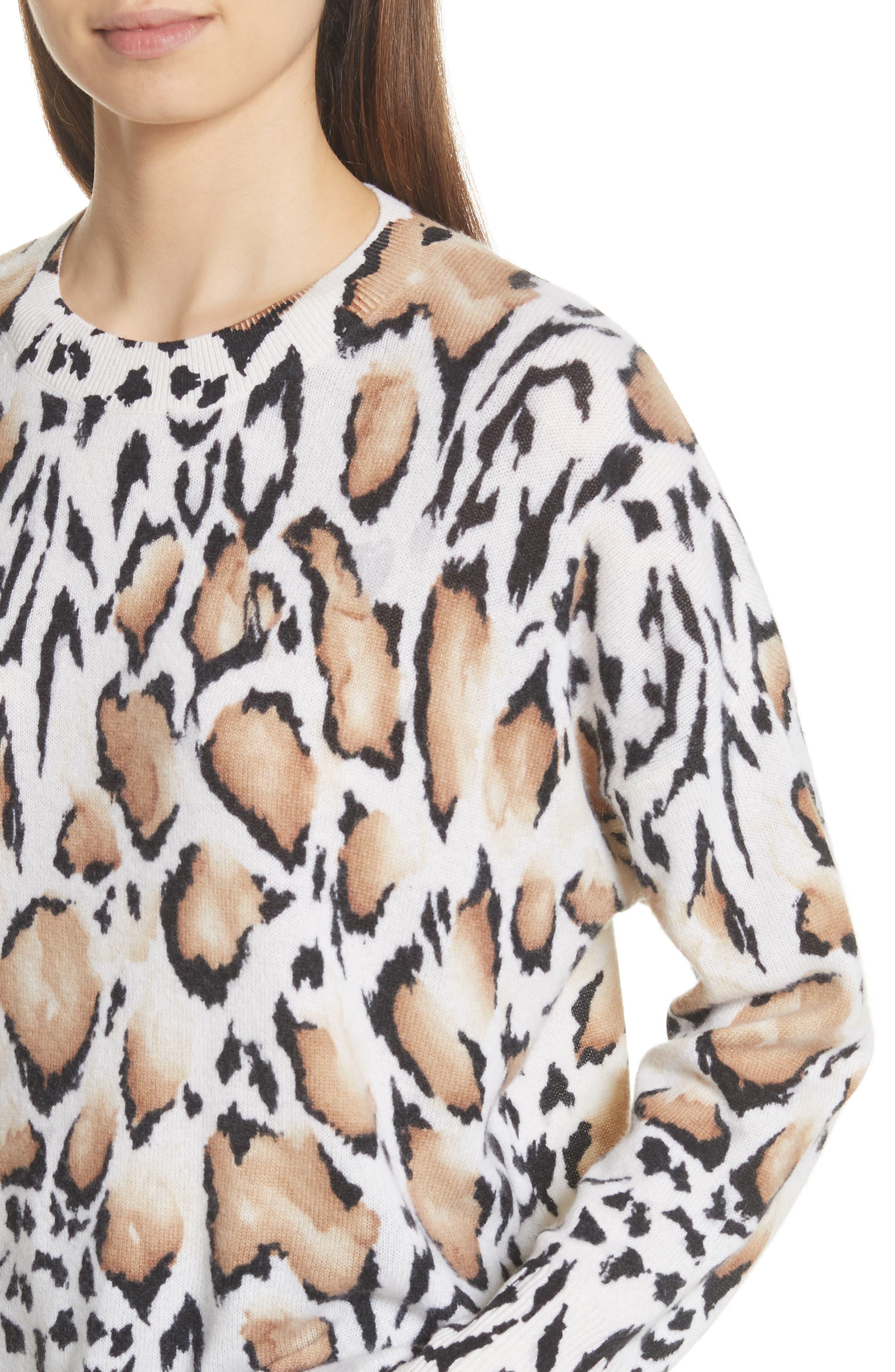 Melanie Clouded Leopard Print Cashmere Sweater,                             Alternate thumbnail 4, color,                             188