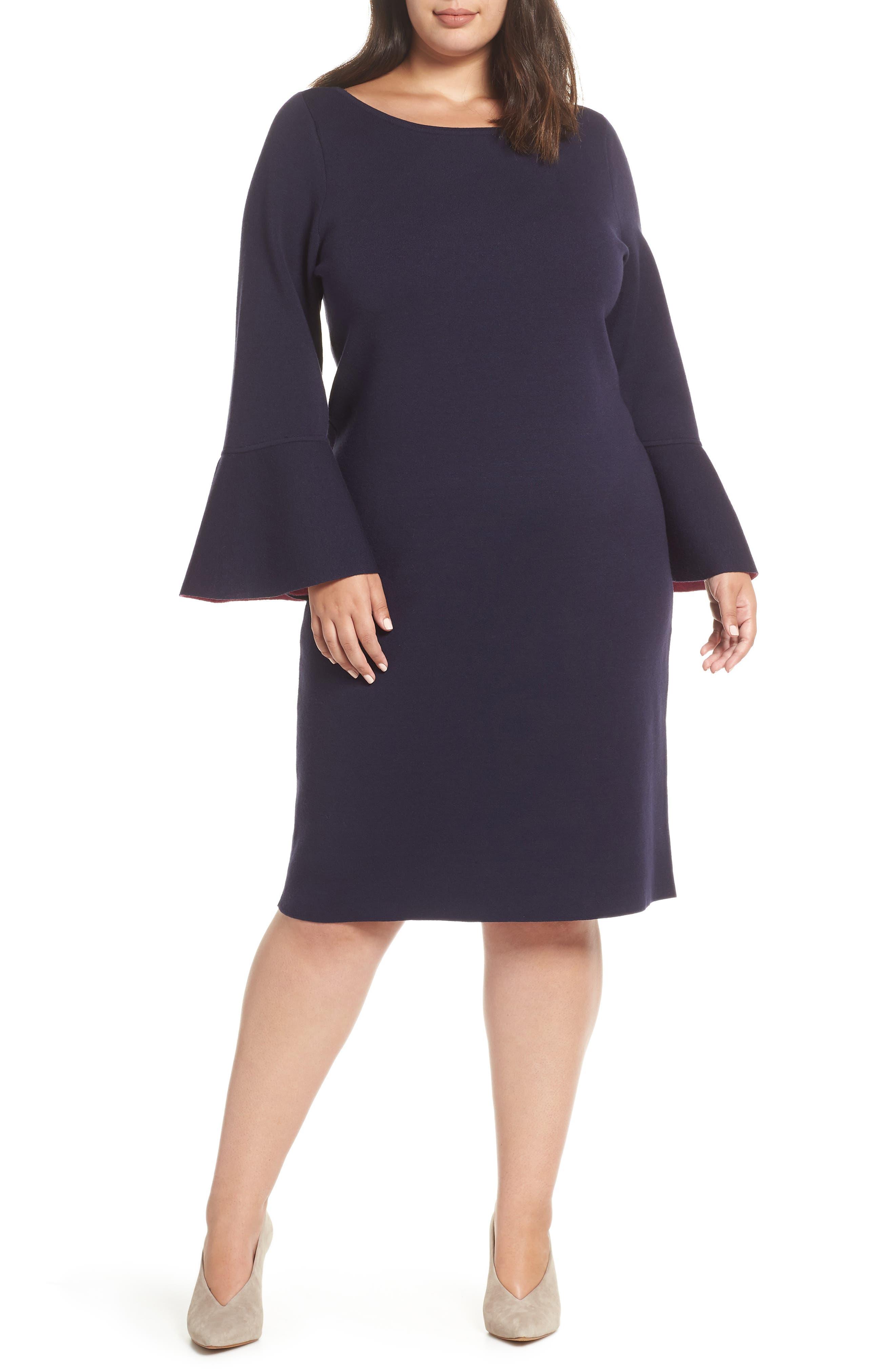 Plus Size Eliza J Bell Sleeve Midi Sweater Dress