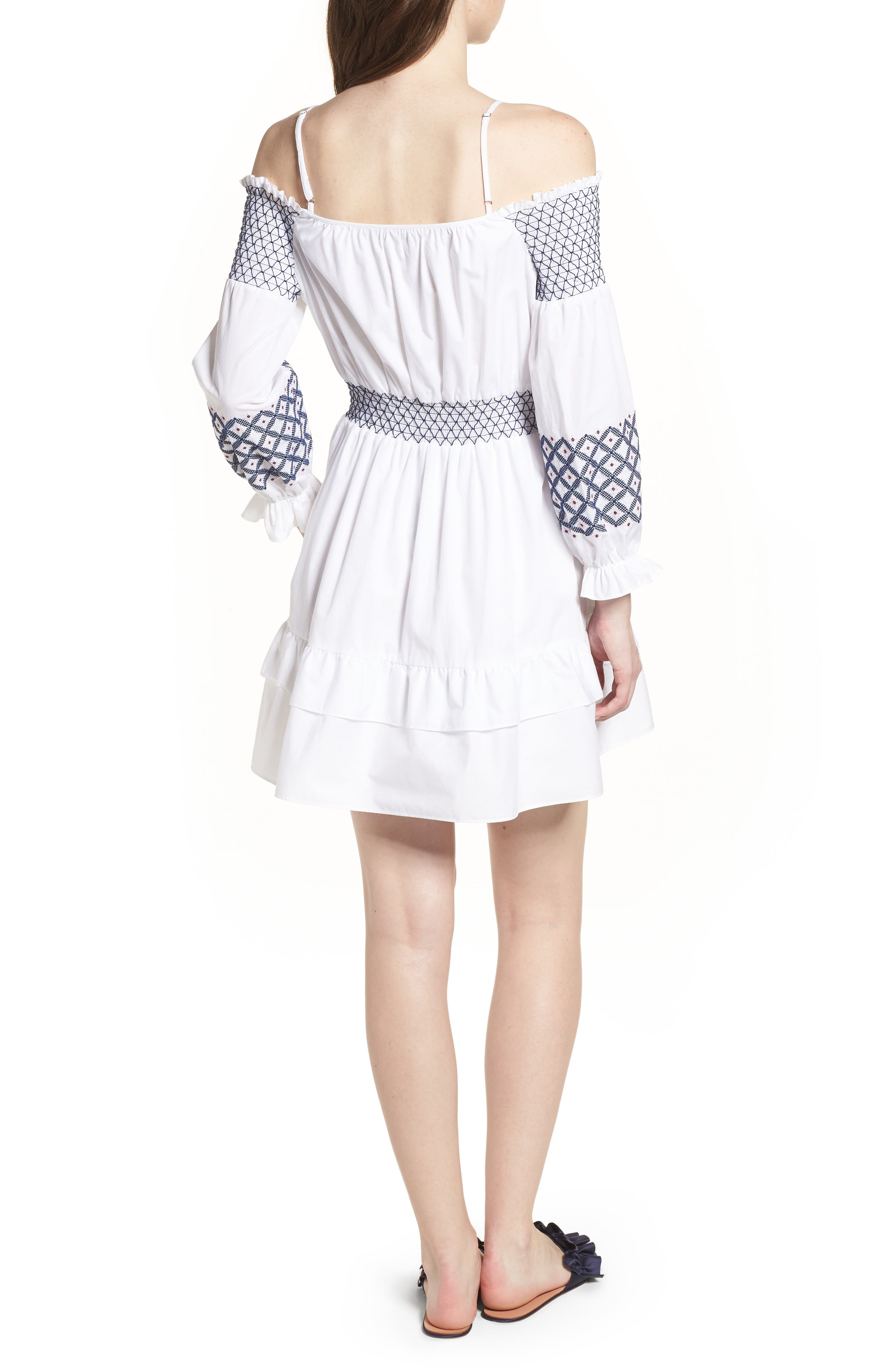 Brittany Embroidered Cold Shoulder Dress,                             Alternate thumbnail 2, color,                             100