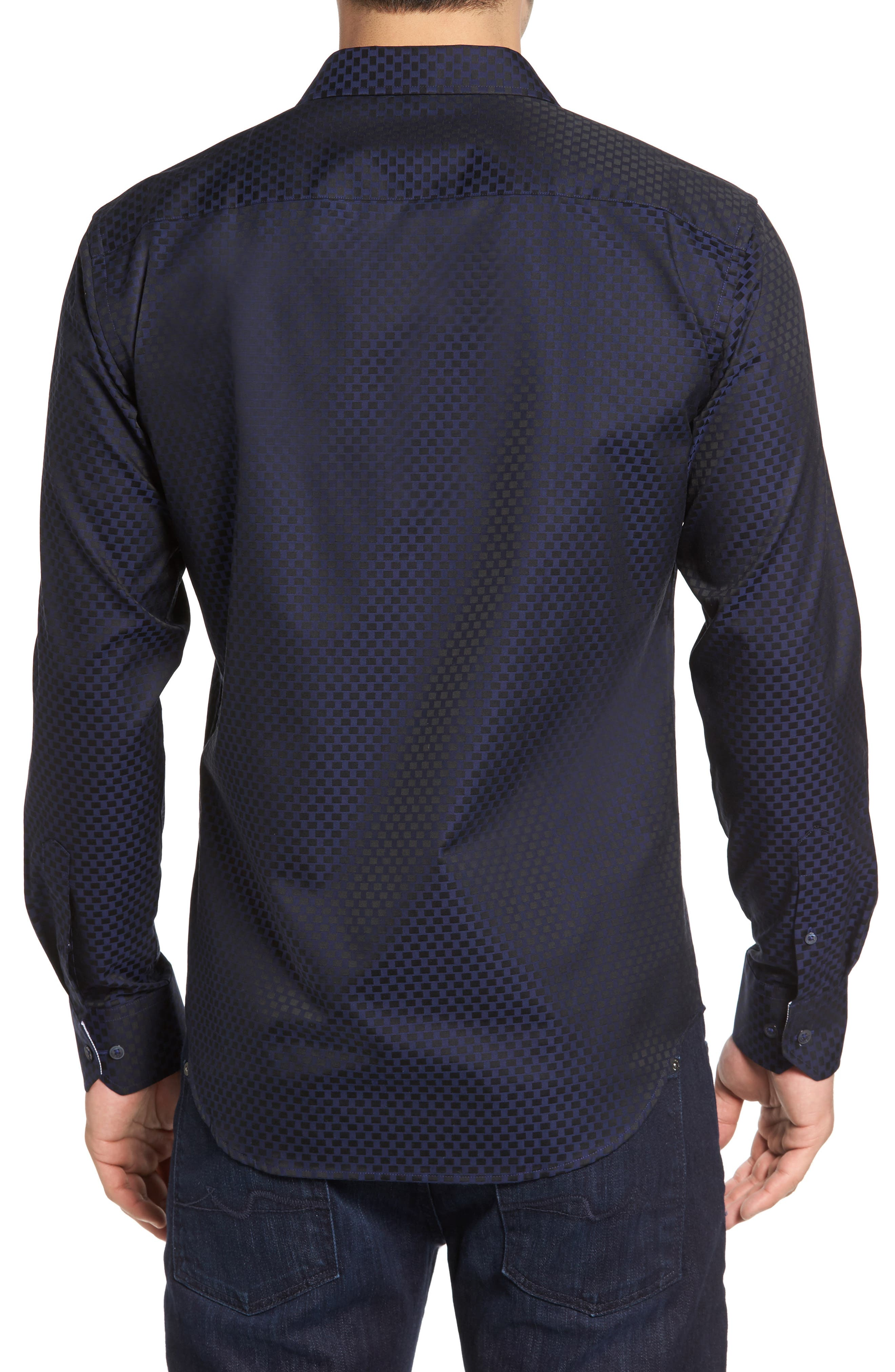 Shaped Fit Rectangle Jacquard Sport Shirt,                             Alternate thumbnail 6, color,