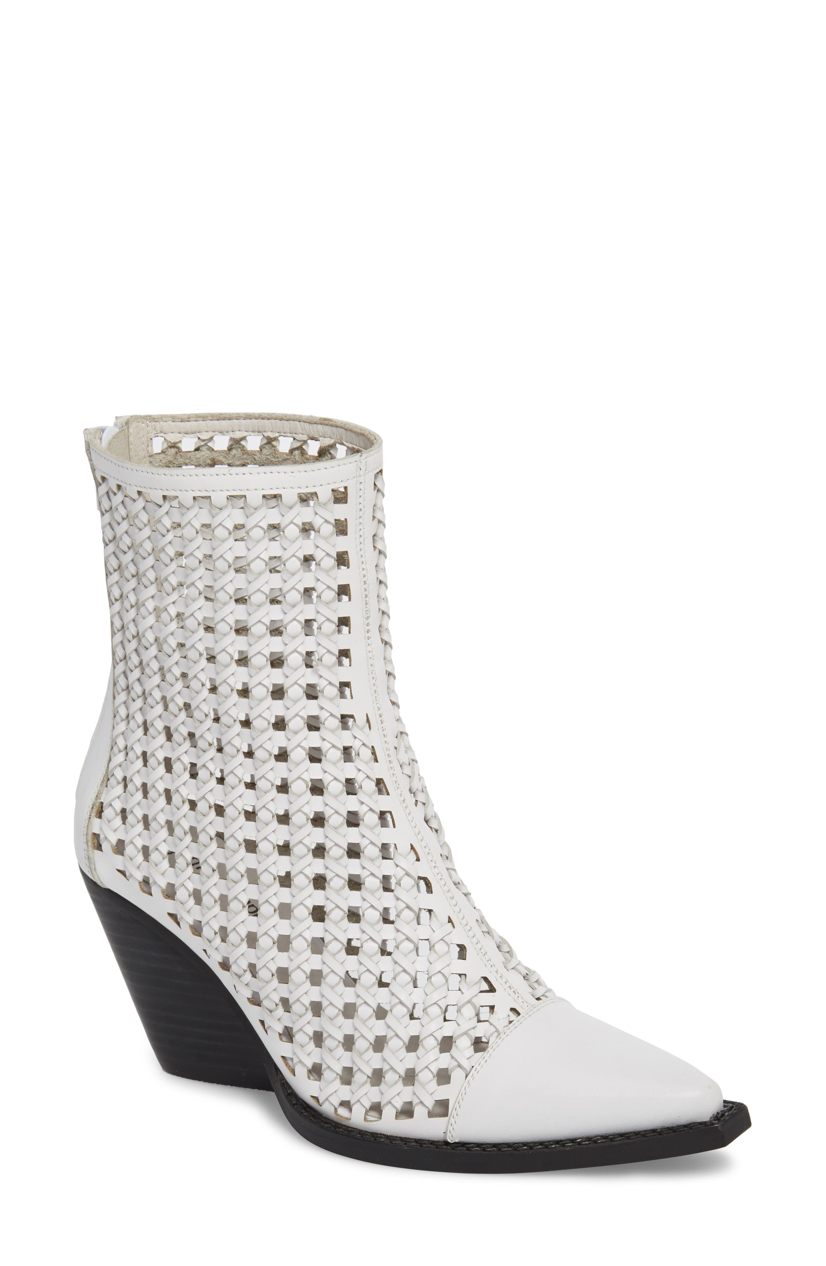 Waven Woven Bootie,                         Main,                         color, WHITE LEATHER