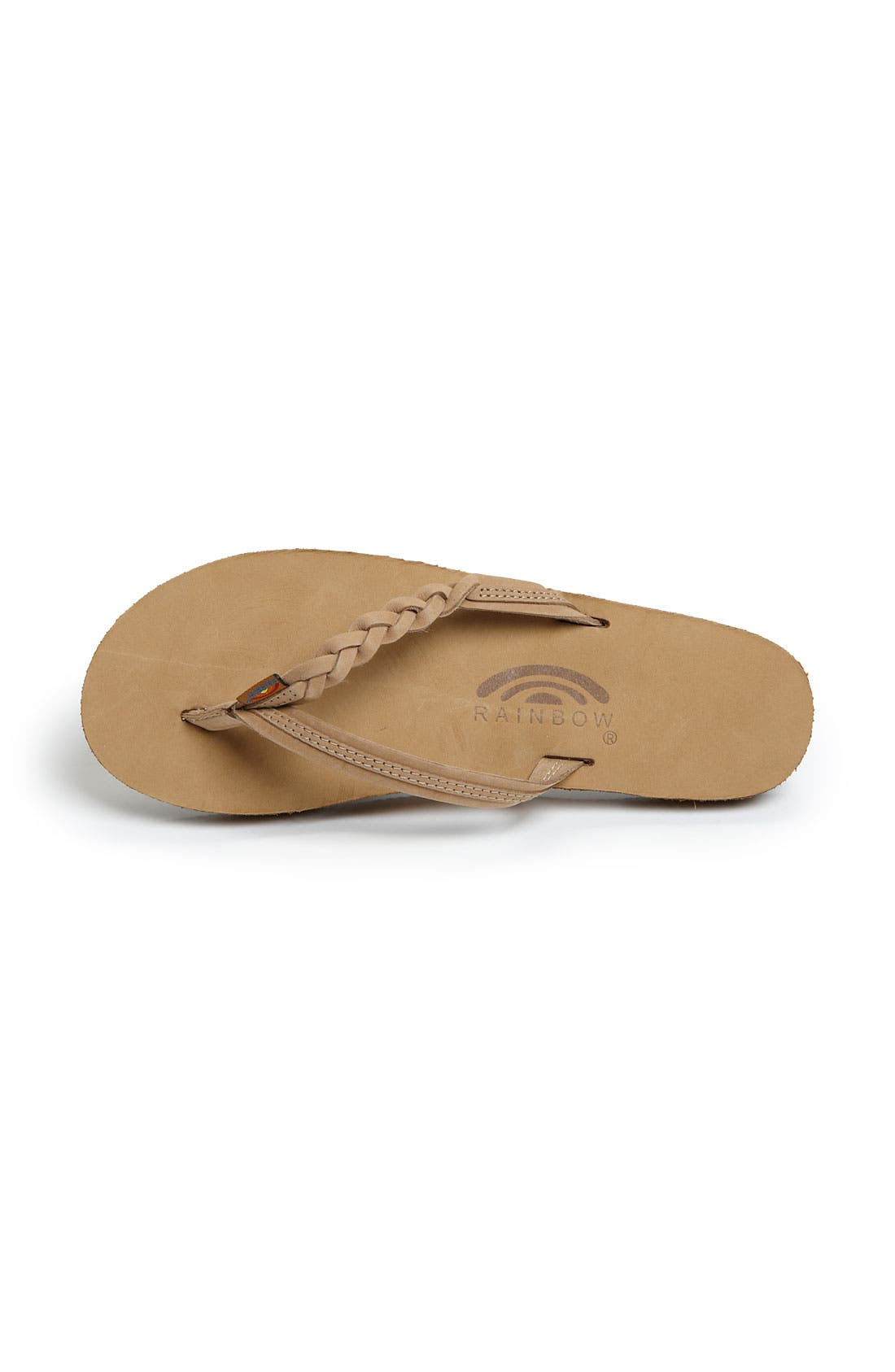 Rainbow 'Flirty' Braided Leather Flip Flop,                             Alternate thumbnail 3, color,                             SIERRA BROWN