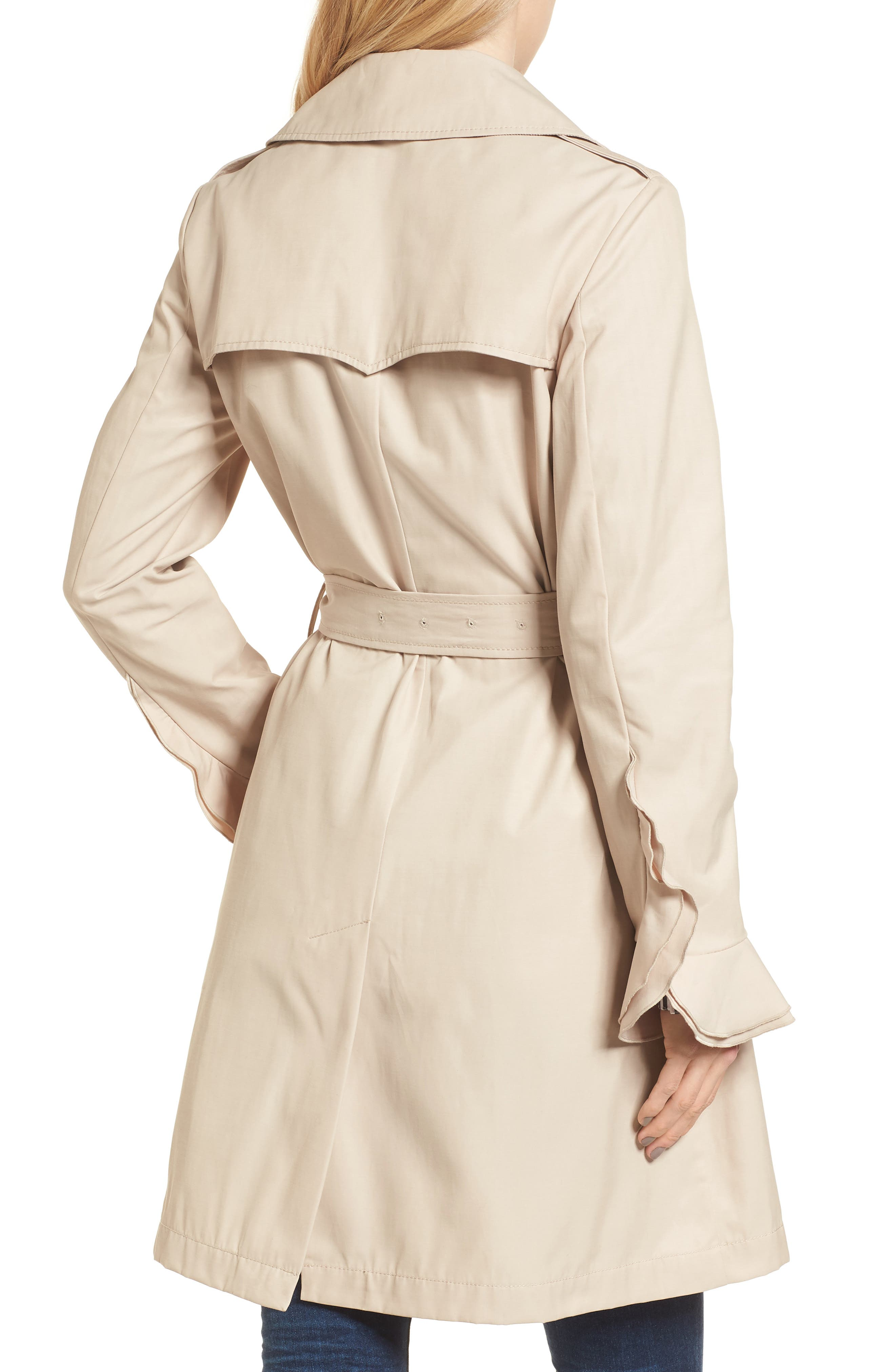 Stella Ruffle Sleeve Trench Coat,                             Alternate thumbnail 2, color,                             250