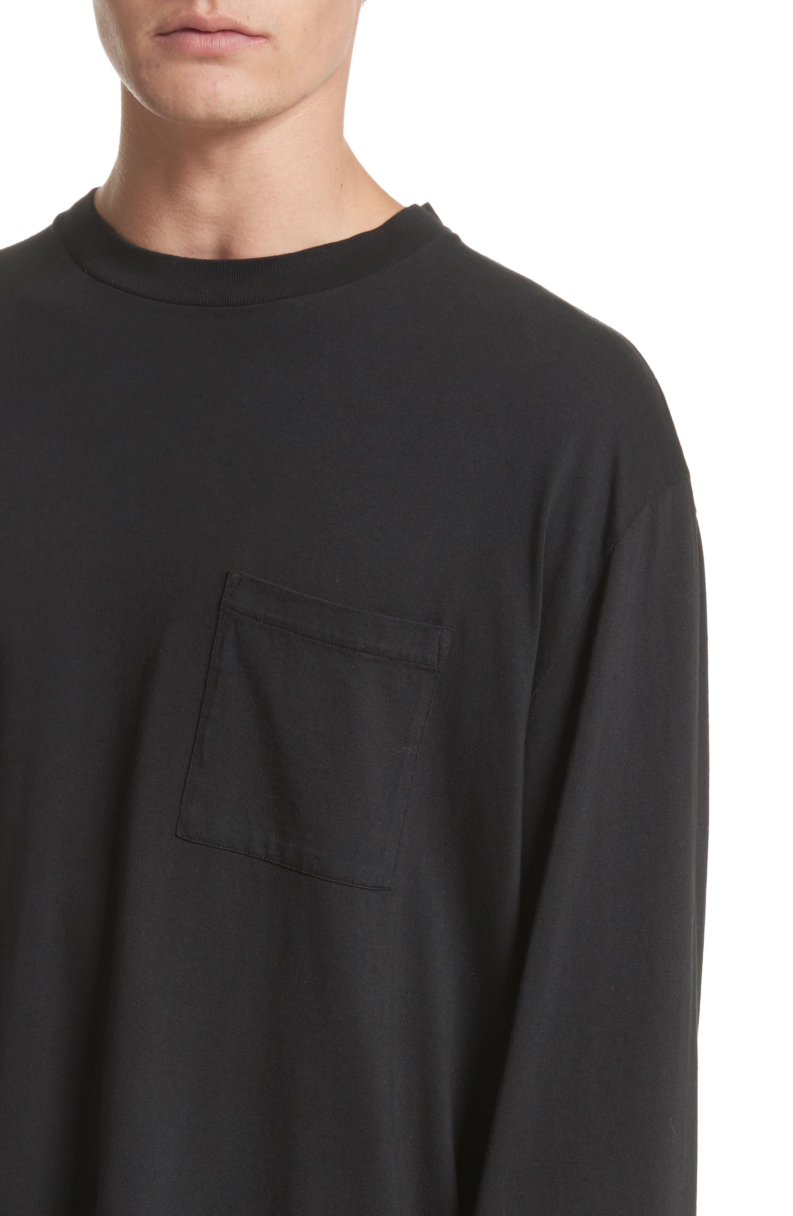 Long Sleeve Pocket T-Shirt,                             Alternate thumbnail 4, color,                             BLACK