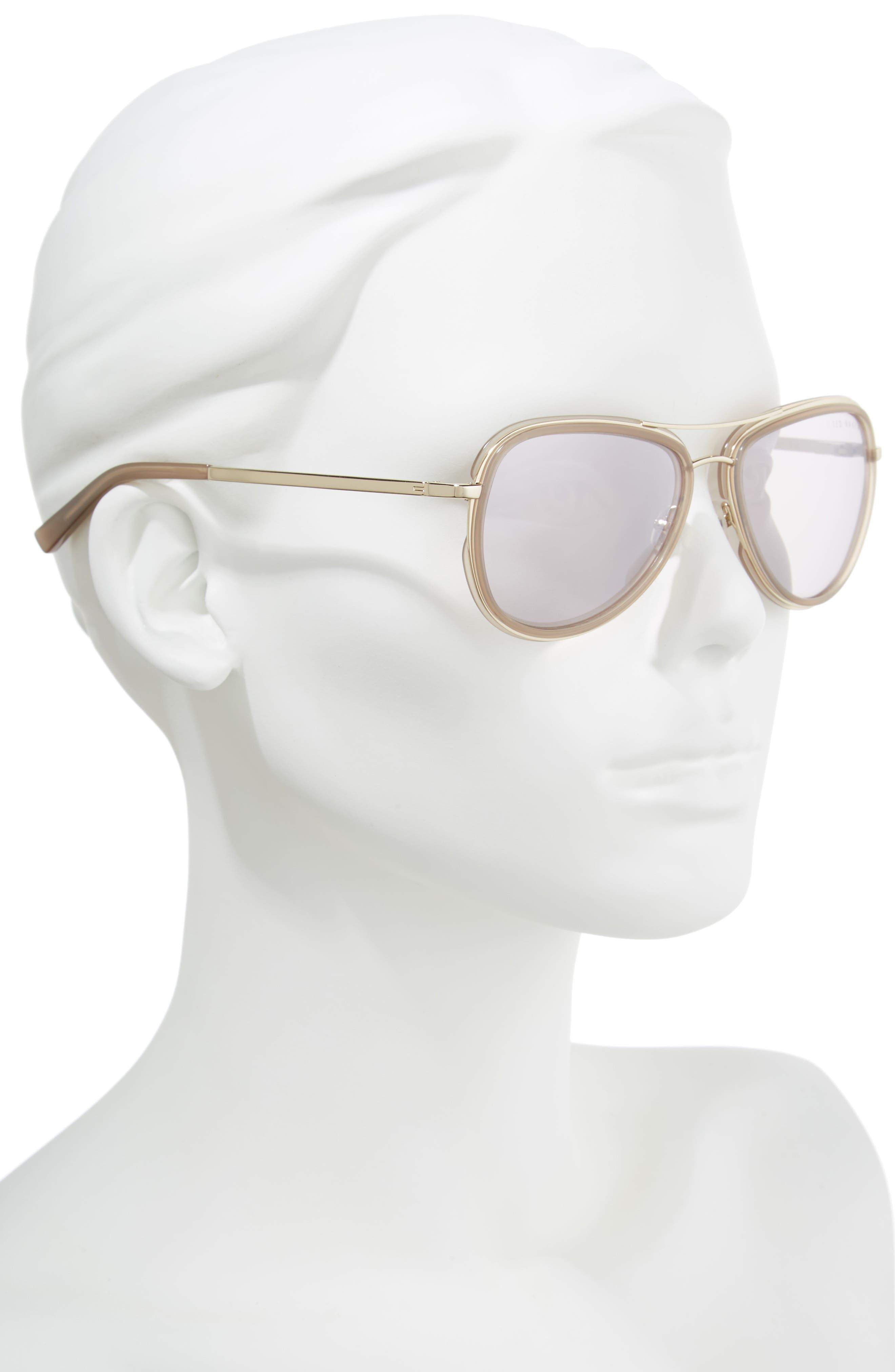 Combination 57mm Aviator Sunglasses,                             Alternate thumbnail 2, color,                             250