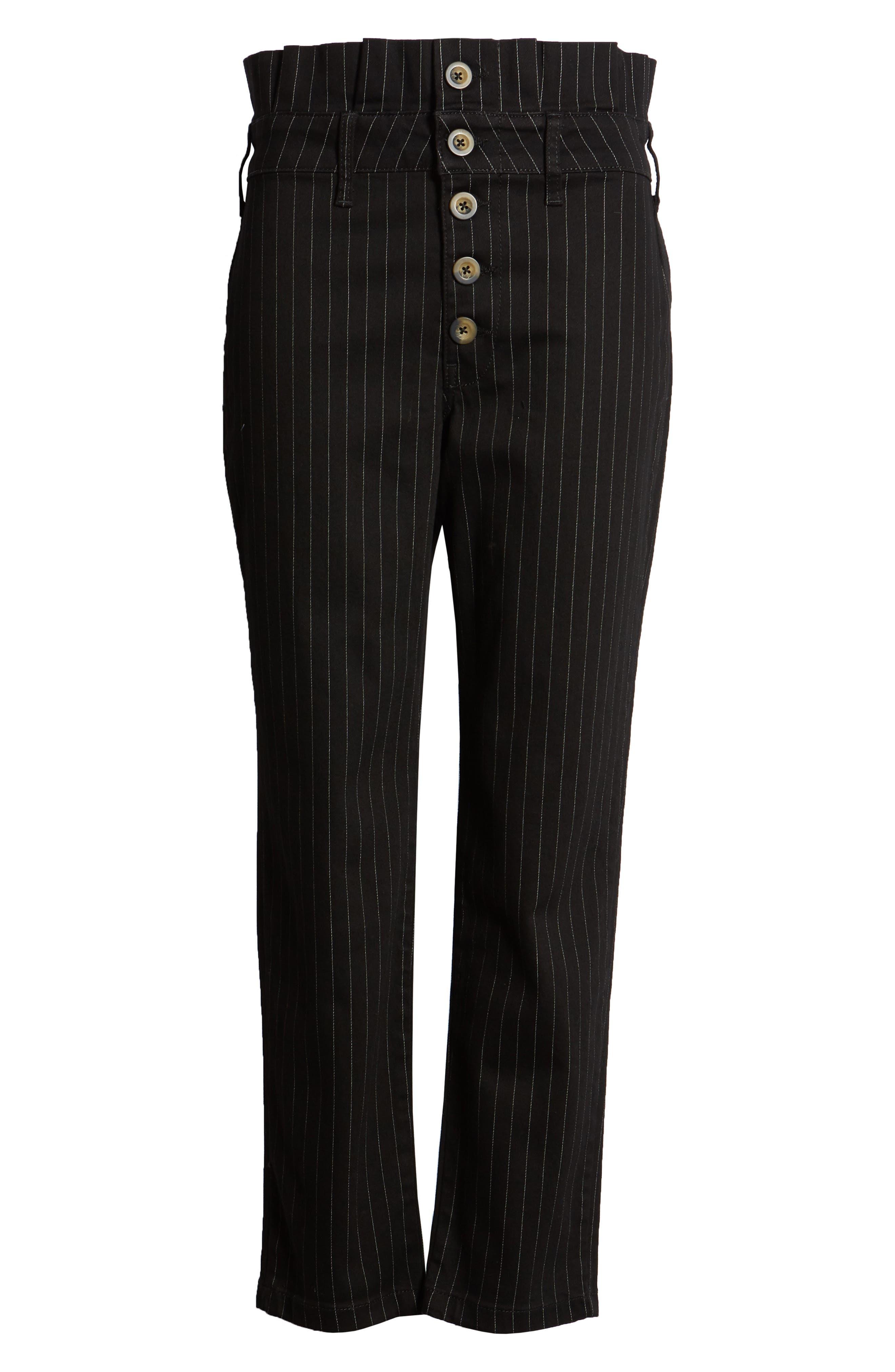 Montella Pinstripe Crop Skinny Pants,                             Alternate thumbnail 7, color,                             BLACK