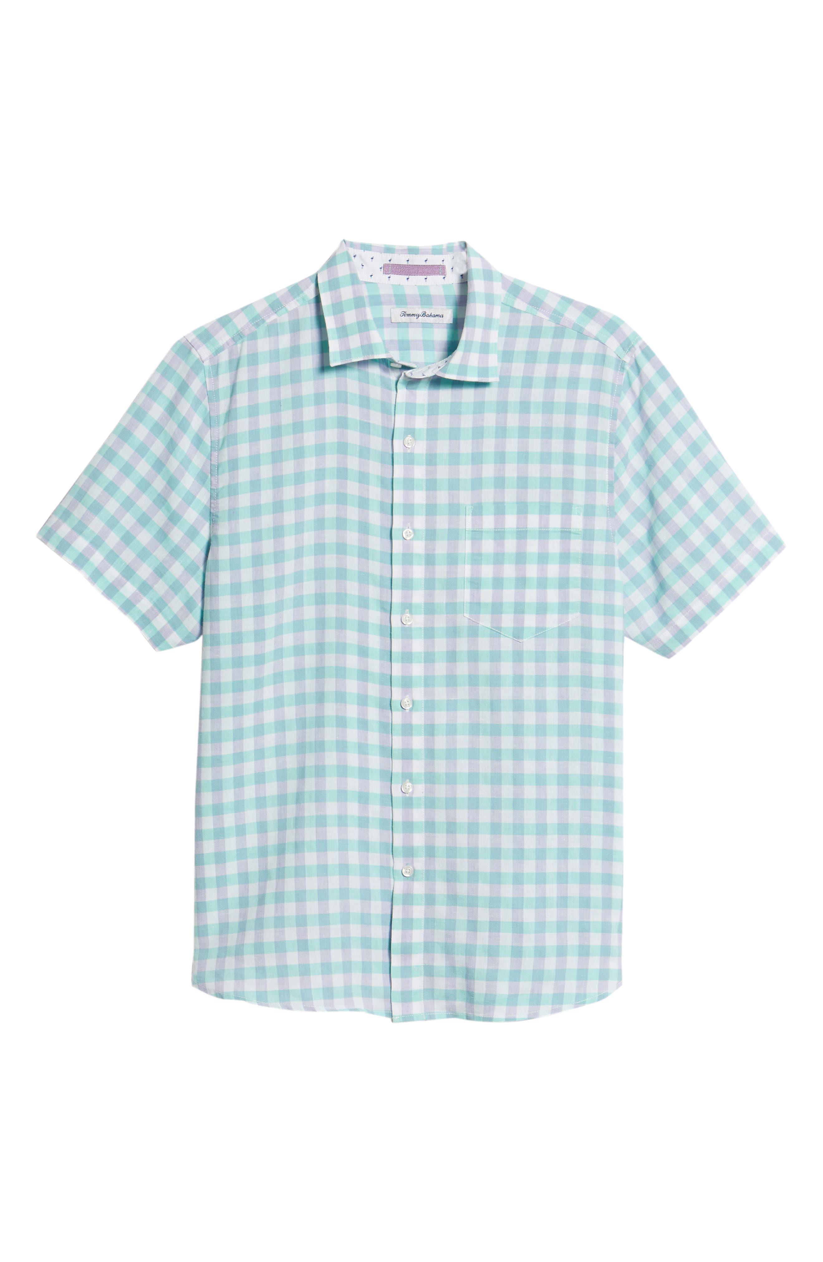 Gingham Del Toro Linen Blend Sport Shirt,                             Alternate thumbnail 12, color,