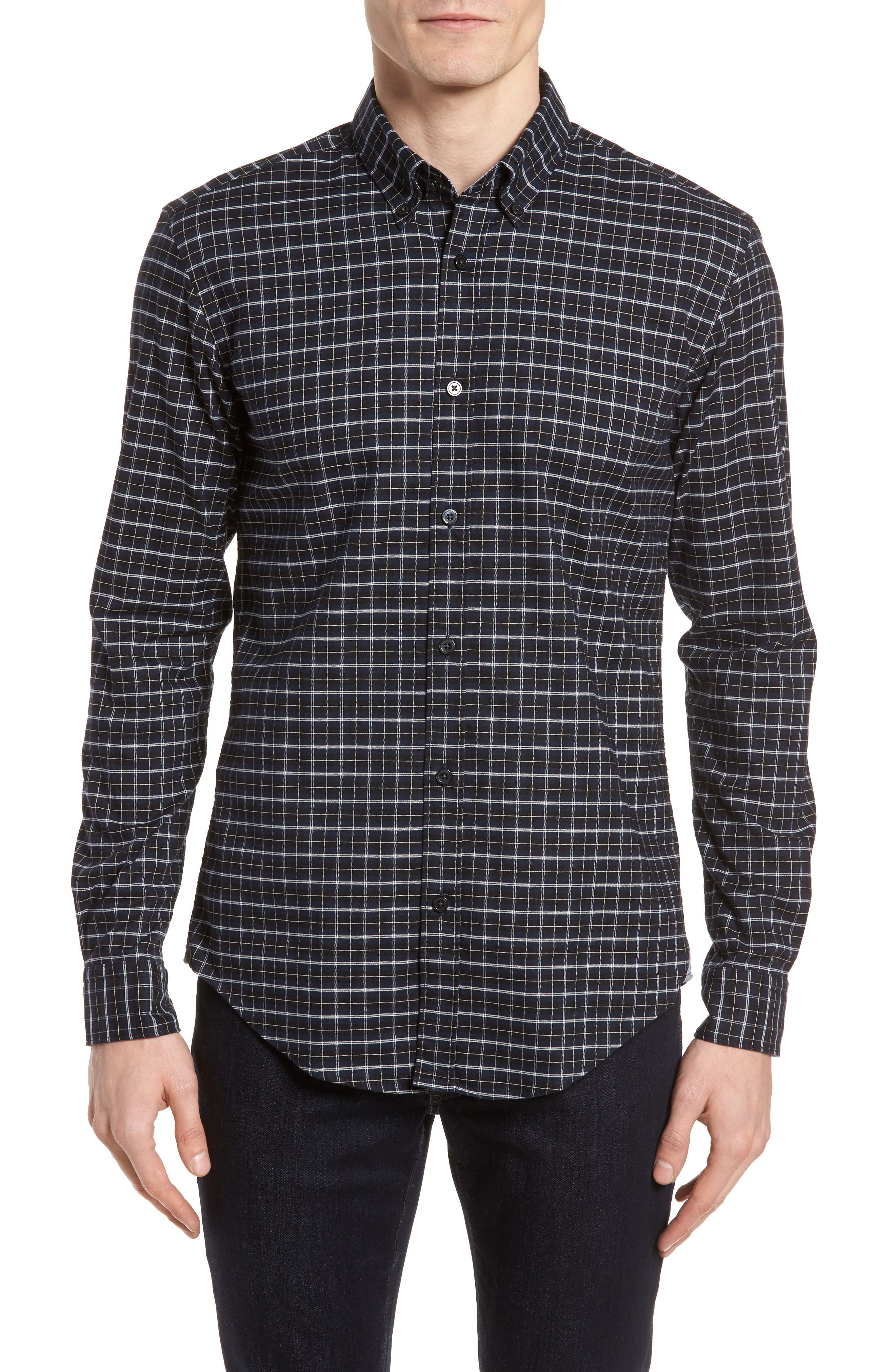 Rod Slim Fit Oxford Check Sport Shirt,                         Main,                         color, 410