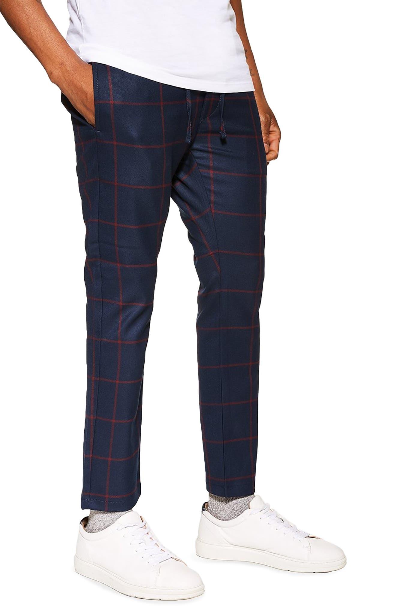 Windowpane Check Jogger Pants, Main, color, NAVY MULTI