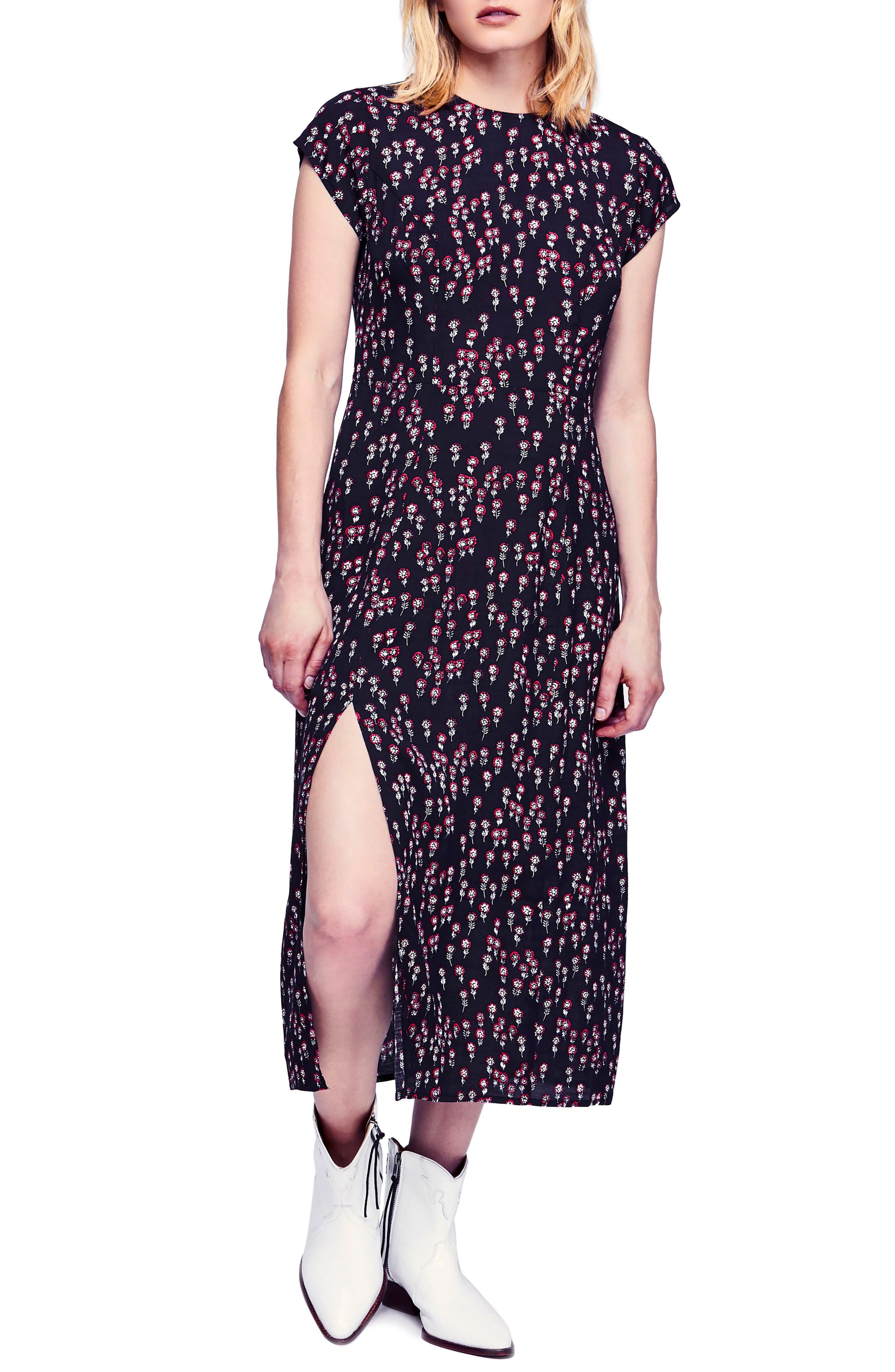 FREE PEOPLE,                             Corrie Midi Dress,                             Main thumbnail 1, color,                             BLACK