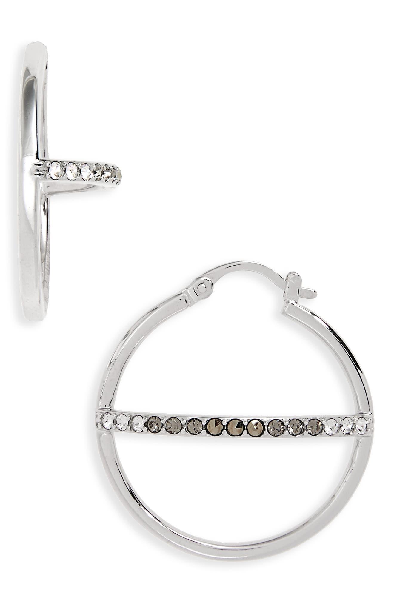 Silver Sparkle Hoop Earrings,                             Main thumbnail 1, color,                             040
