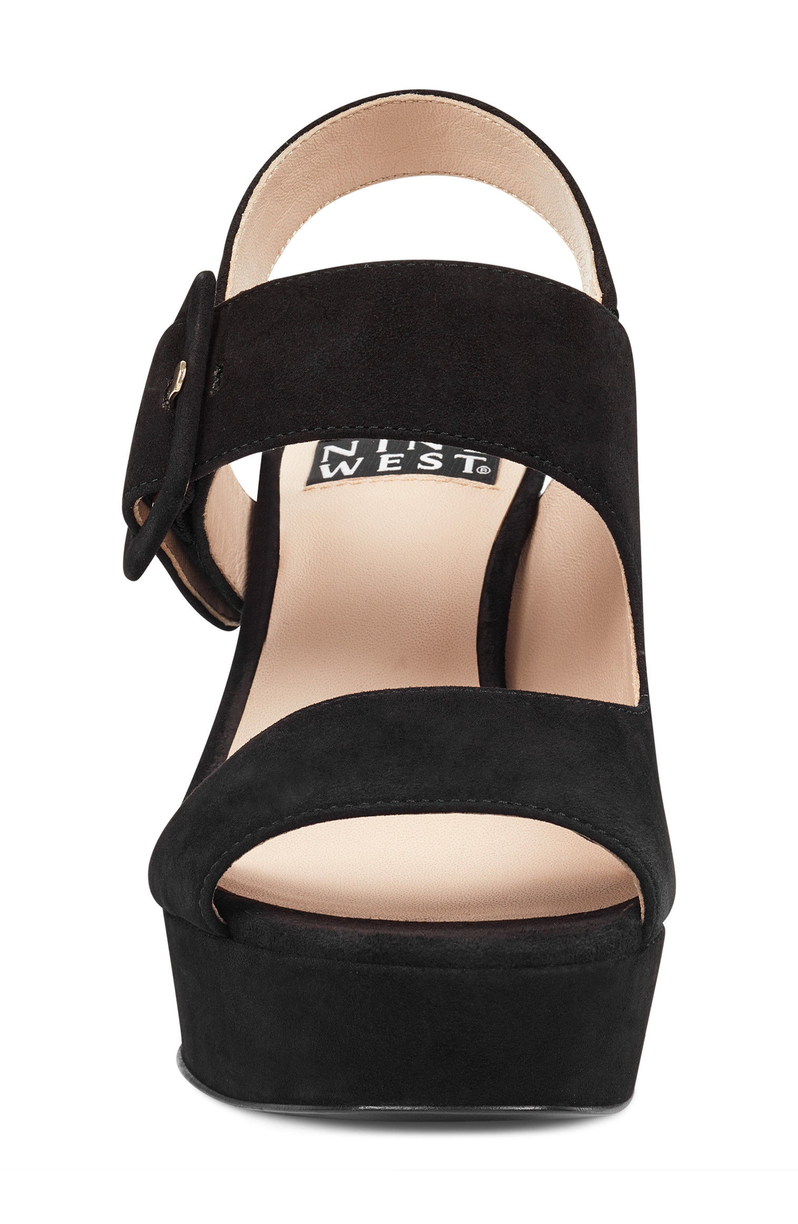 Lexine - 40th Anniversary Capsule Collection Platform Sandal,                             Alternate thumbnail 4, color,                             BLACK LEATHER