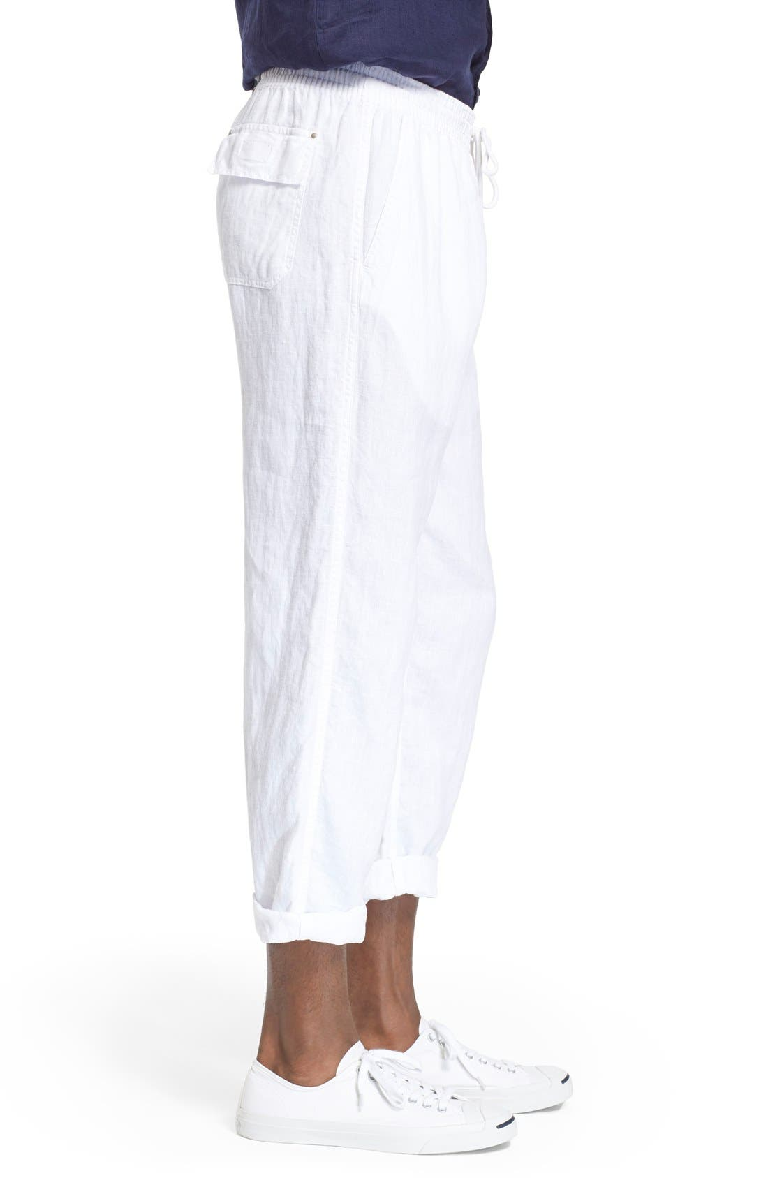 'Pacha' Linen Pants,                             Alternate thumbnail 3, color,                             100