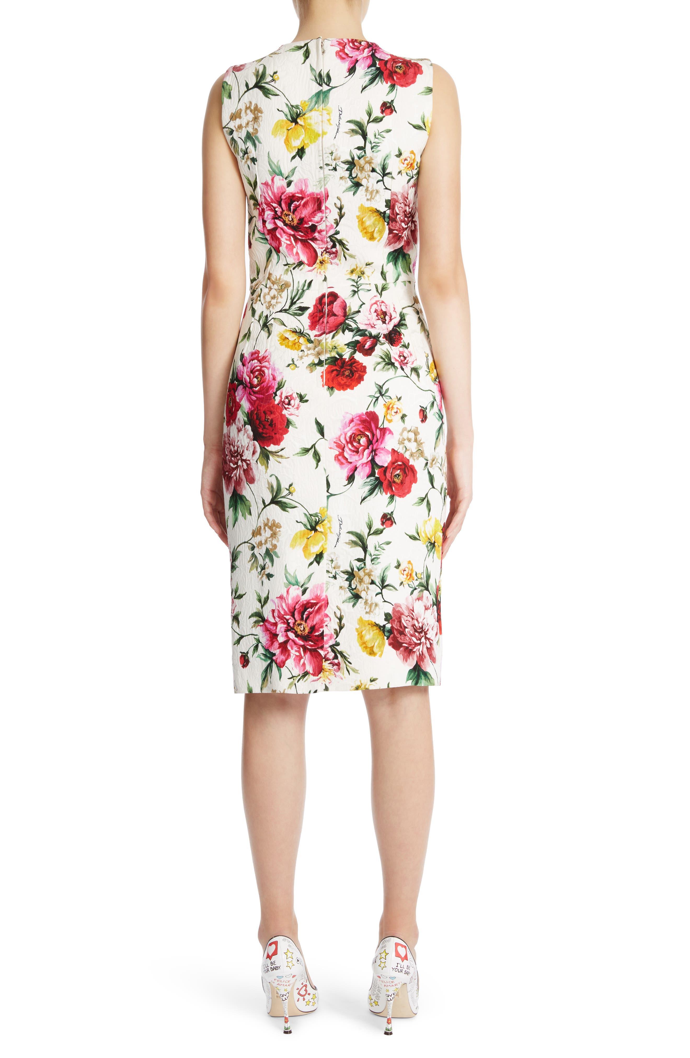 Floral Print Jacquard Sheath Dress,                             Alternate thumbnail 2, color,                             115