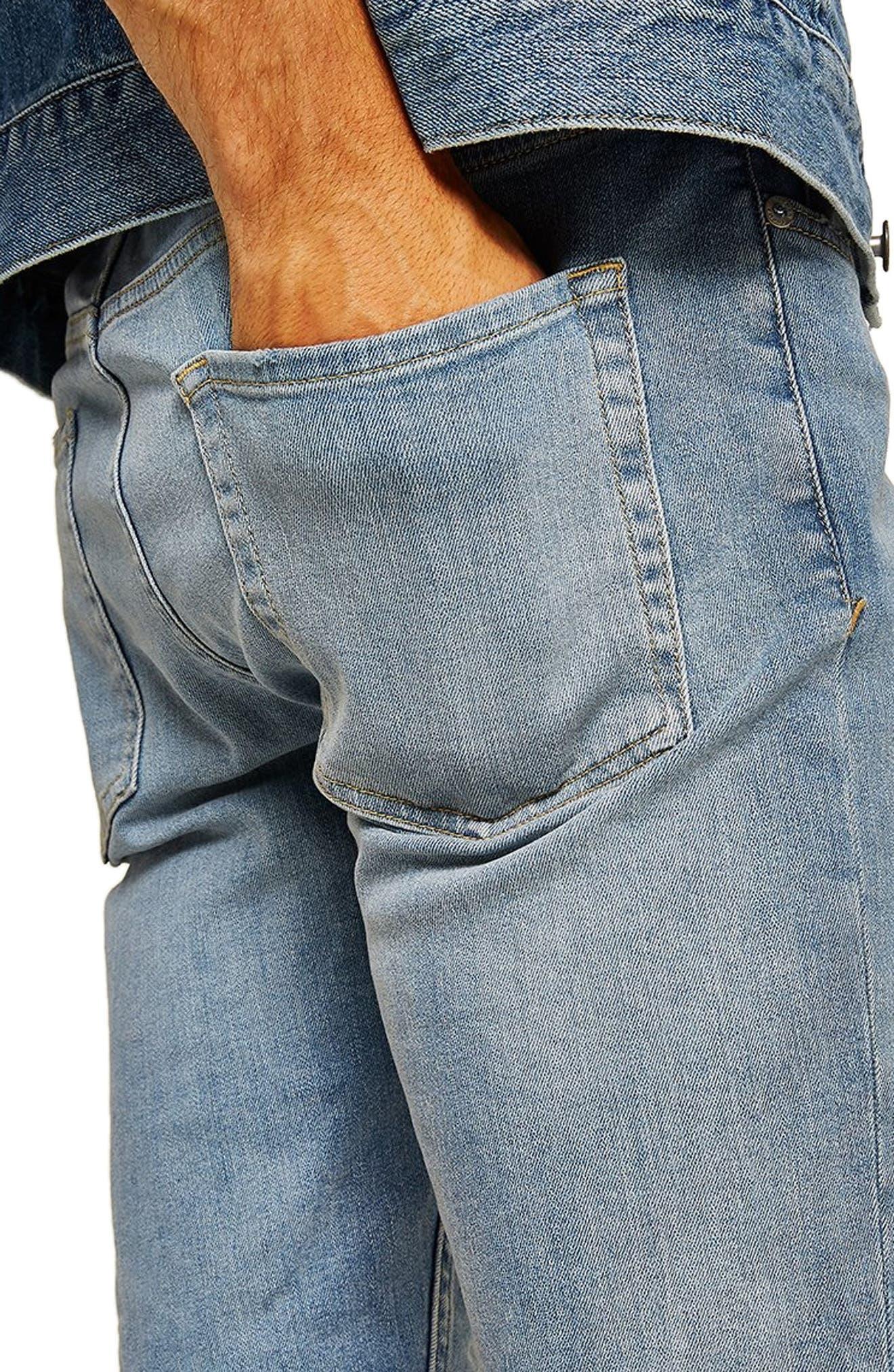 Bleach Ripped Skinny Denim Shorts,                             Alternate thumbnail 3, color,                             400