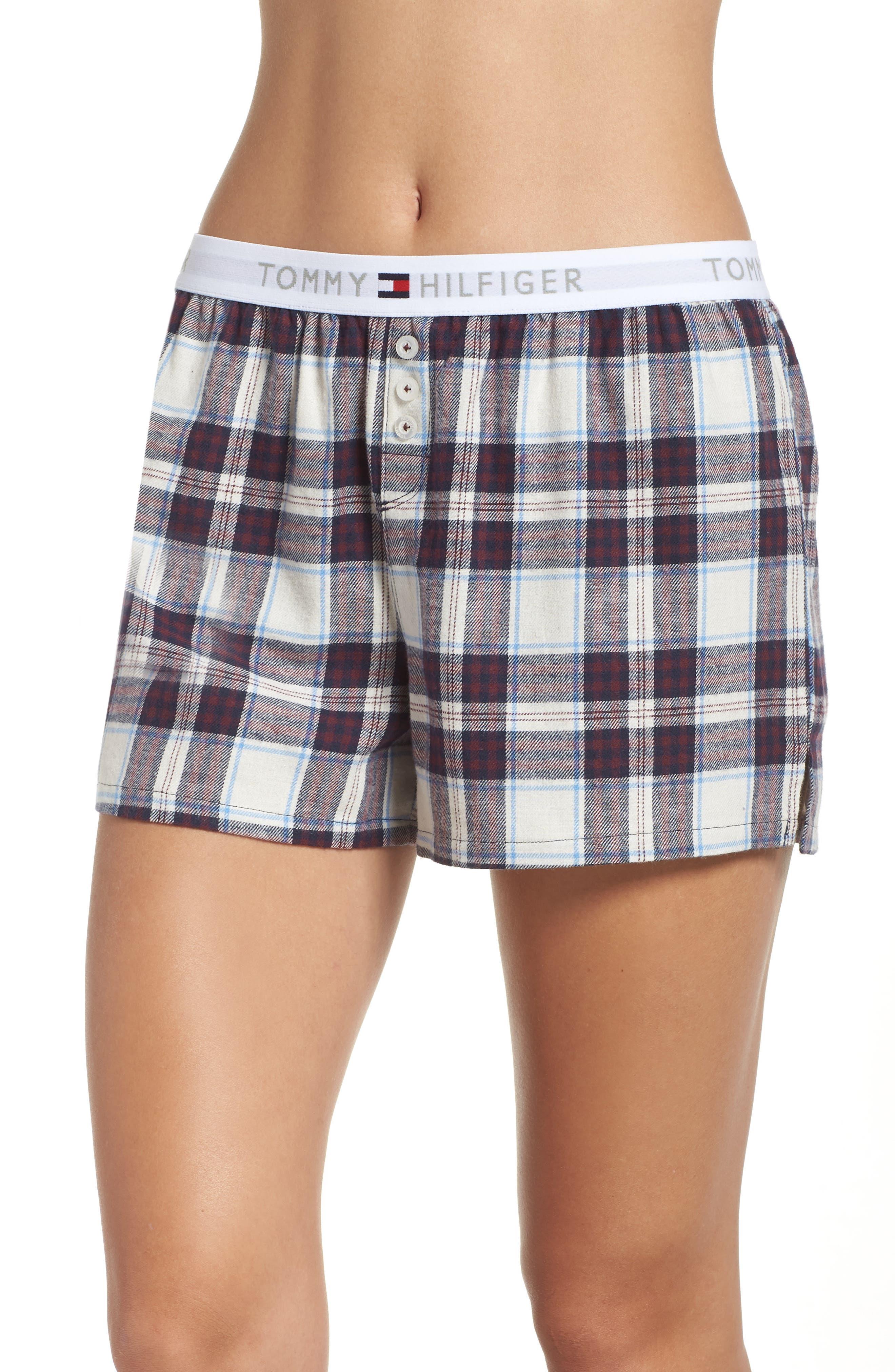 Plaid Pajama Shorts,                             Main thumbnail 1, color,                             SWEET DREAMS FIG TARTAN
