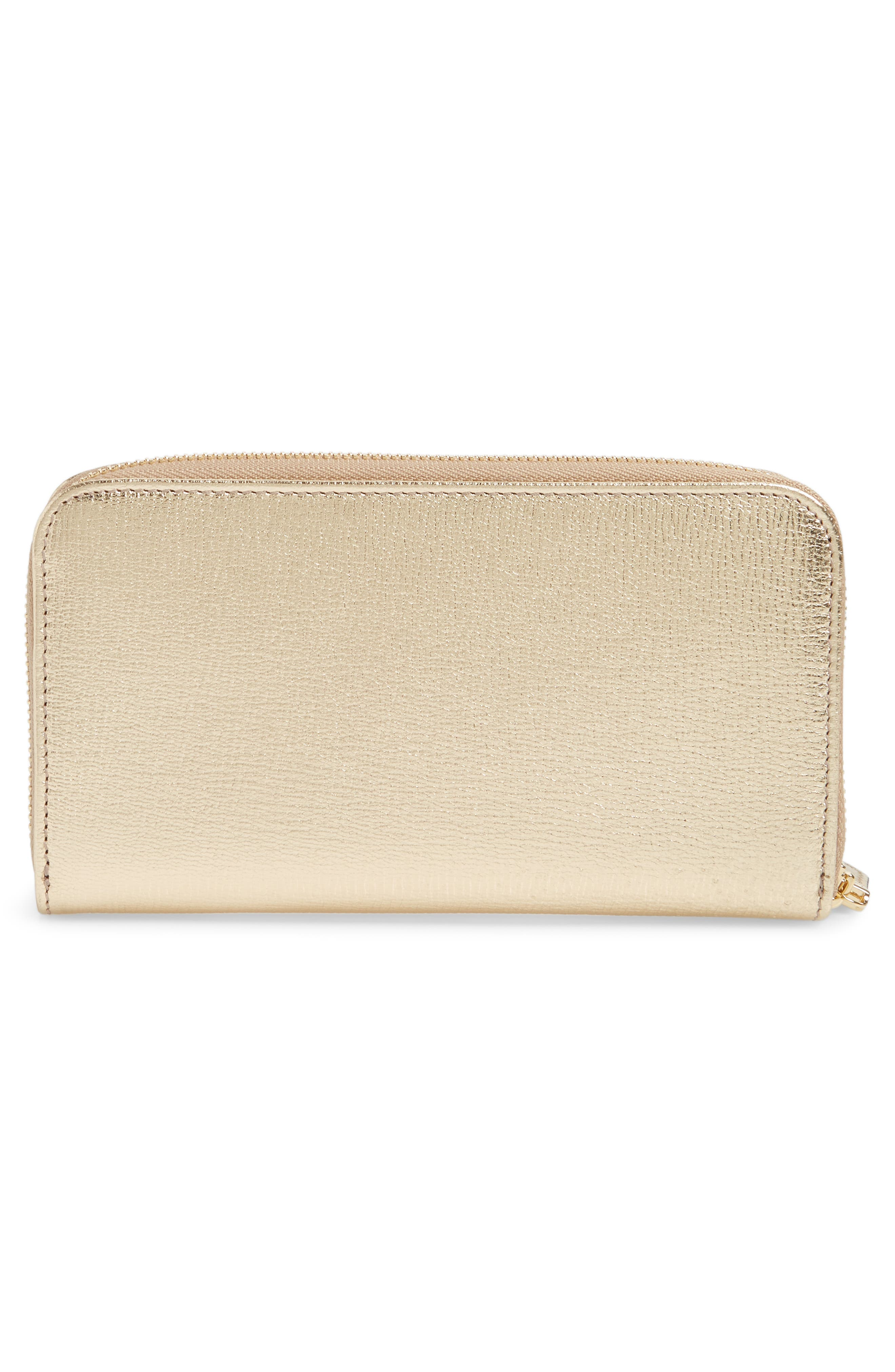 Quilted Gancio Leather Zip Around Wallet,                             Alternate thumbnail 3, color,                             GOLD METALLIC LEATHER