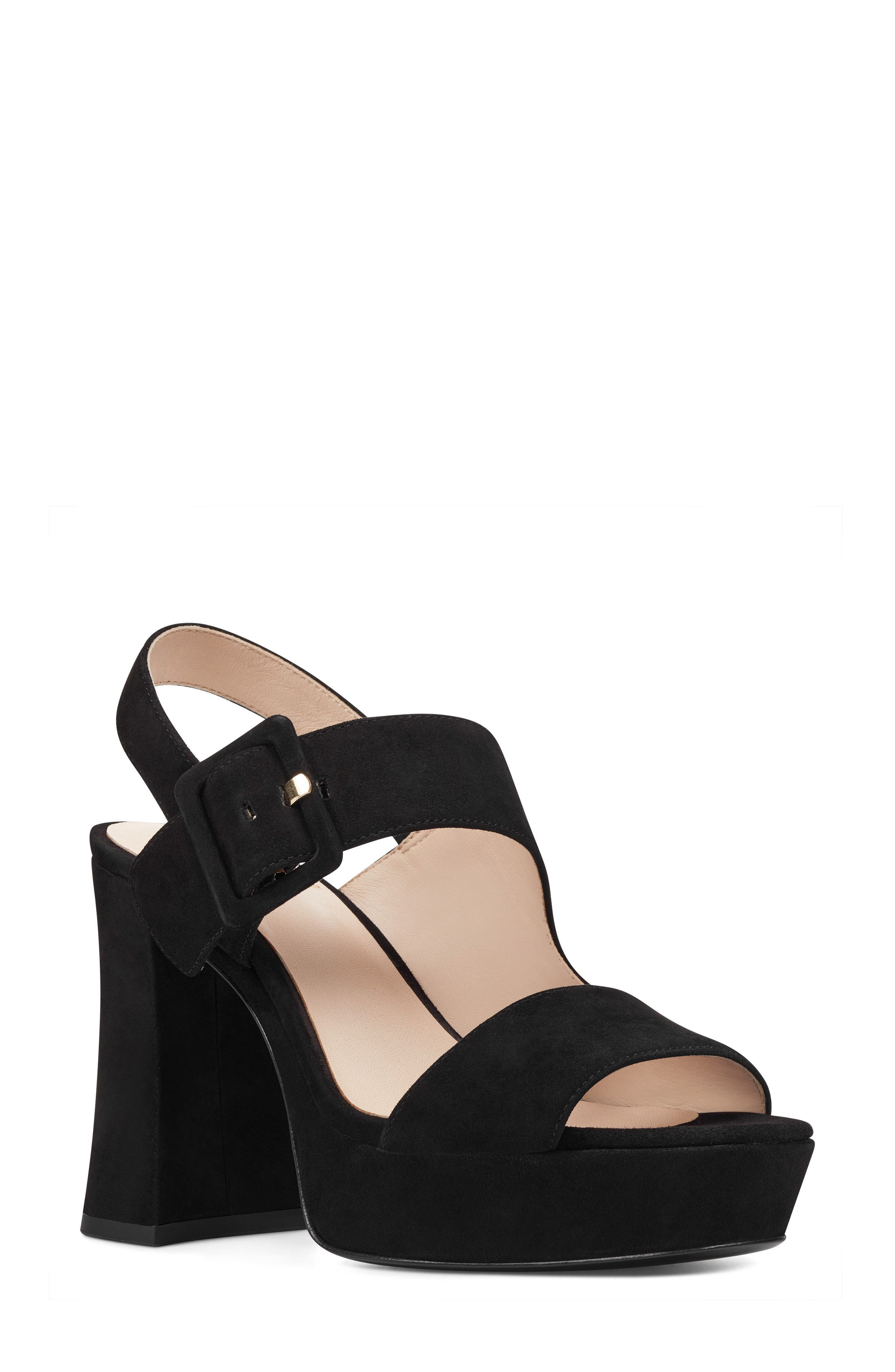 Lexine - 40th Anniversary Capsule Collection Platform Sandal,                         Main,                         color, BLACK LEATHER
