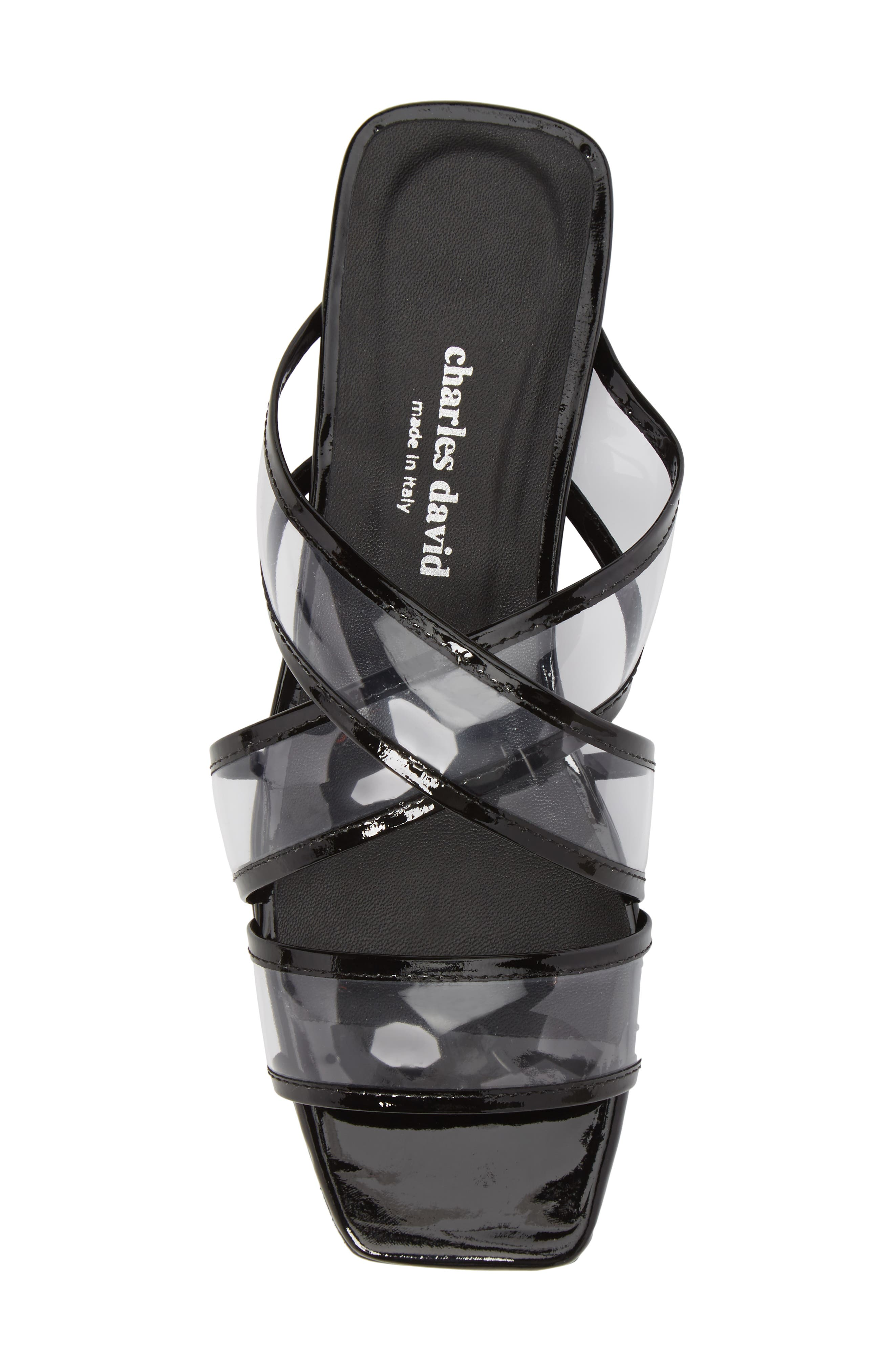 Drea Transparent Strap Slide Sandal,                             Alternate thumbnail 5, color,                             BLACK