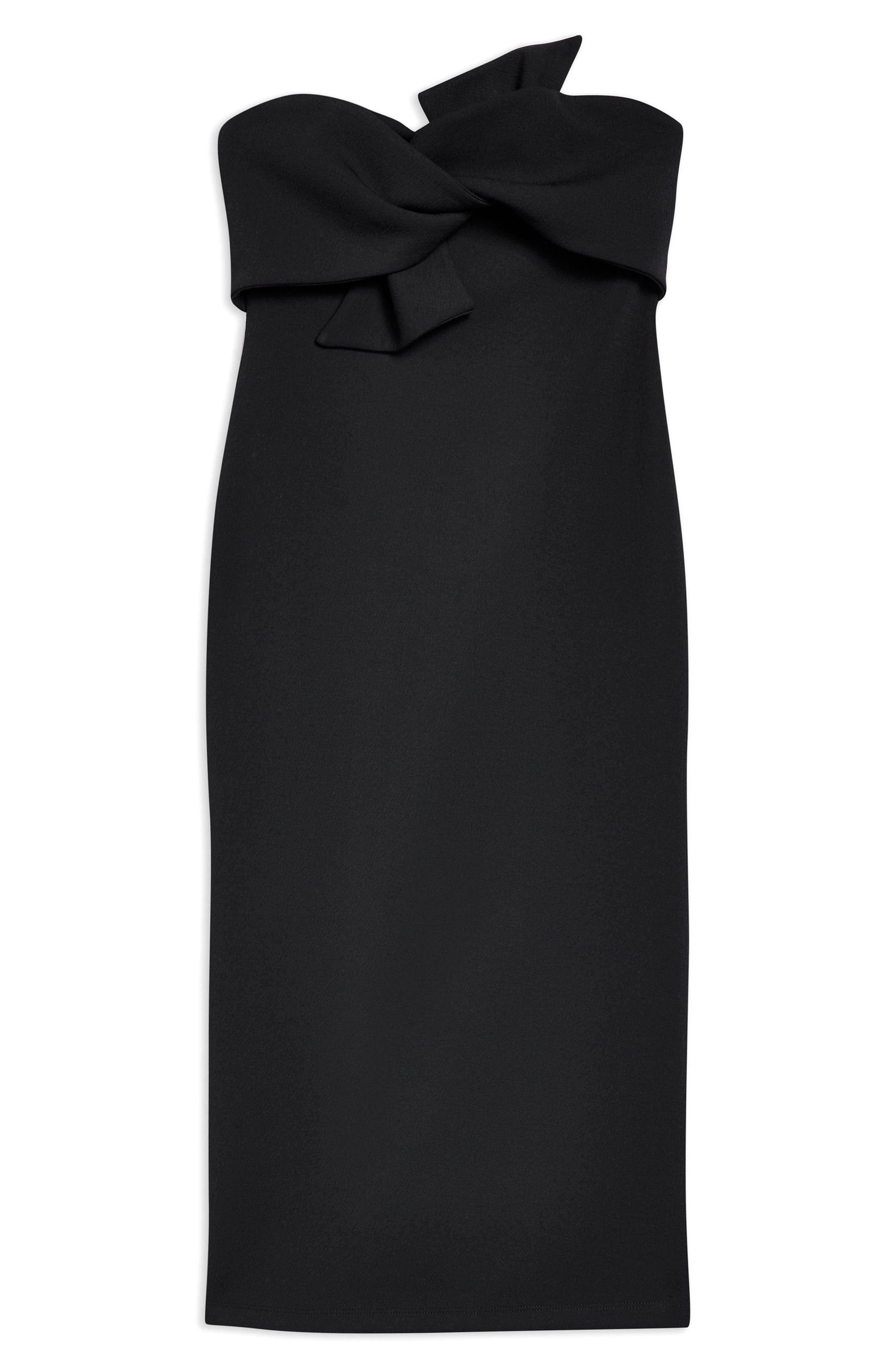Bow Twist Textured Midi Dress,                             Alternate thumbnail 4, color,                             001