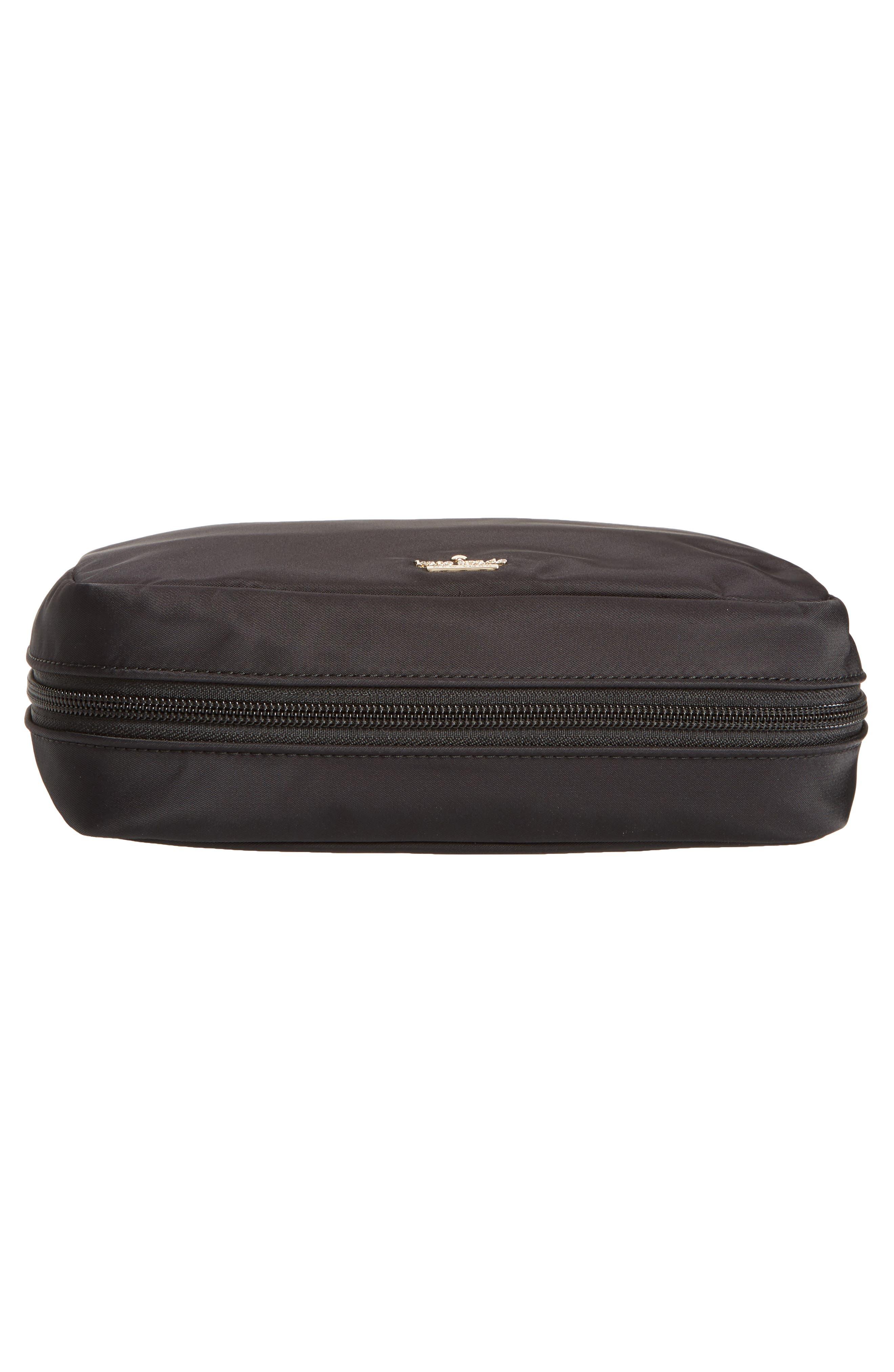 classic baylor nylon cosmetics case,                             Alternate thumbnail 5, color,                             BLACK