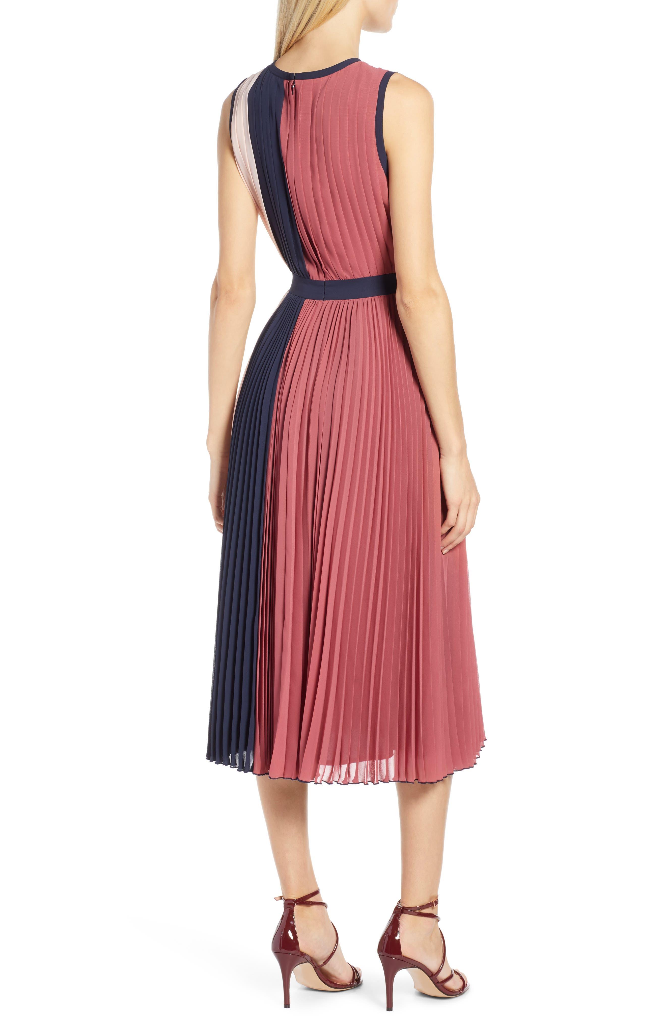 x Atlantic-Pacific Colorblock Pleated Midi Dress,                             Alternate thumbnail 2, color,                             PINK- NAVY COLORBLOCK