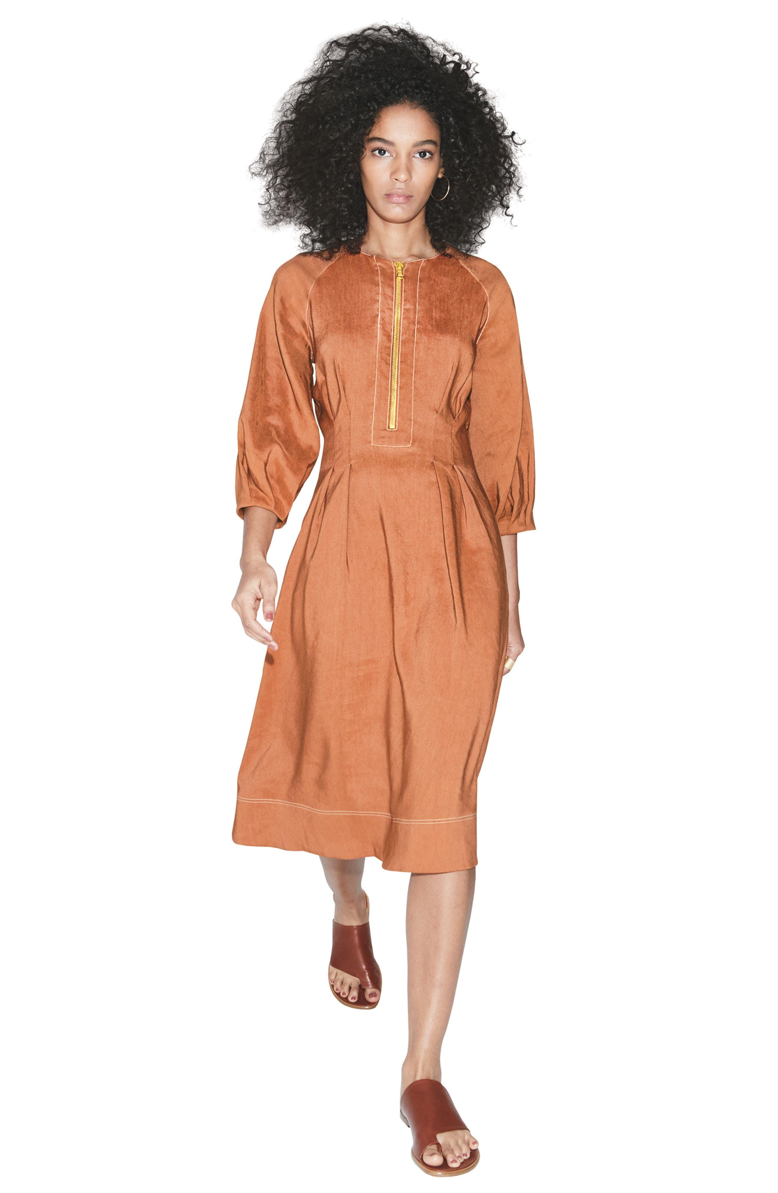 Claudia Linen Blend Midi Dress,                             Alternate thumbnail 7, color,                             821