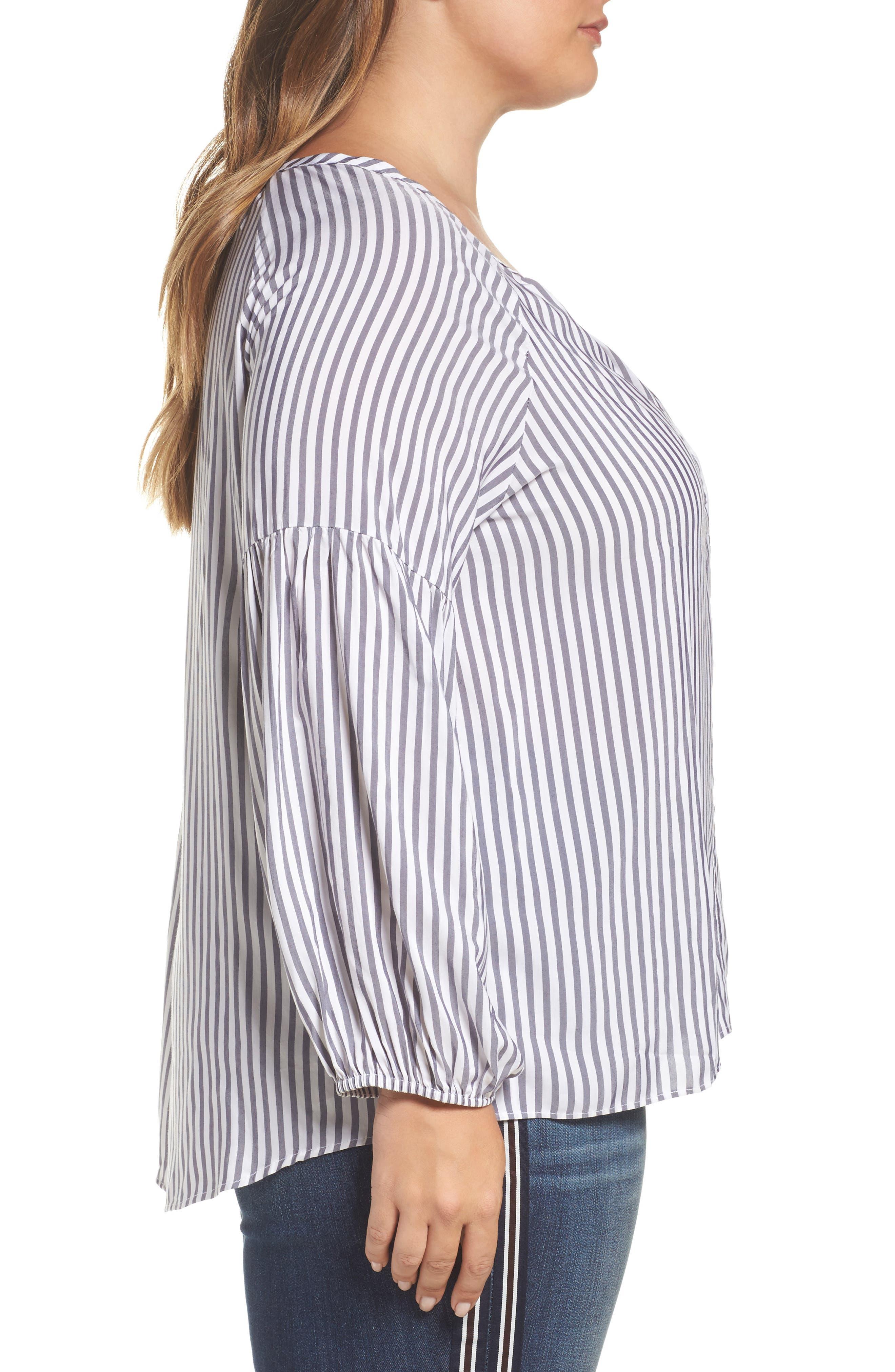 Gathered Sleeve Stripe Blouse,                             Alternate thumbnail 3, color,                             100