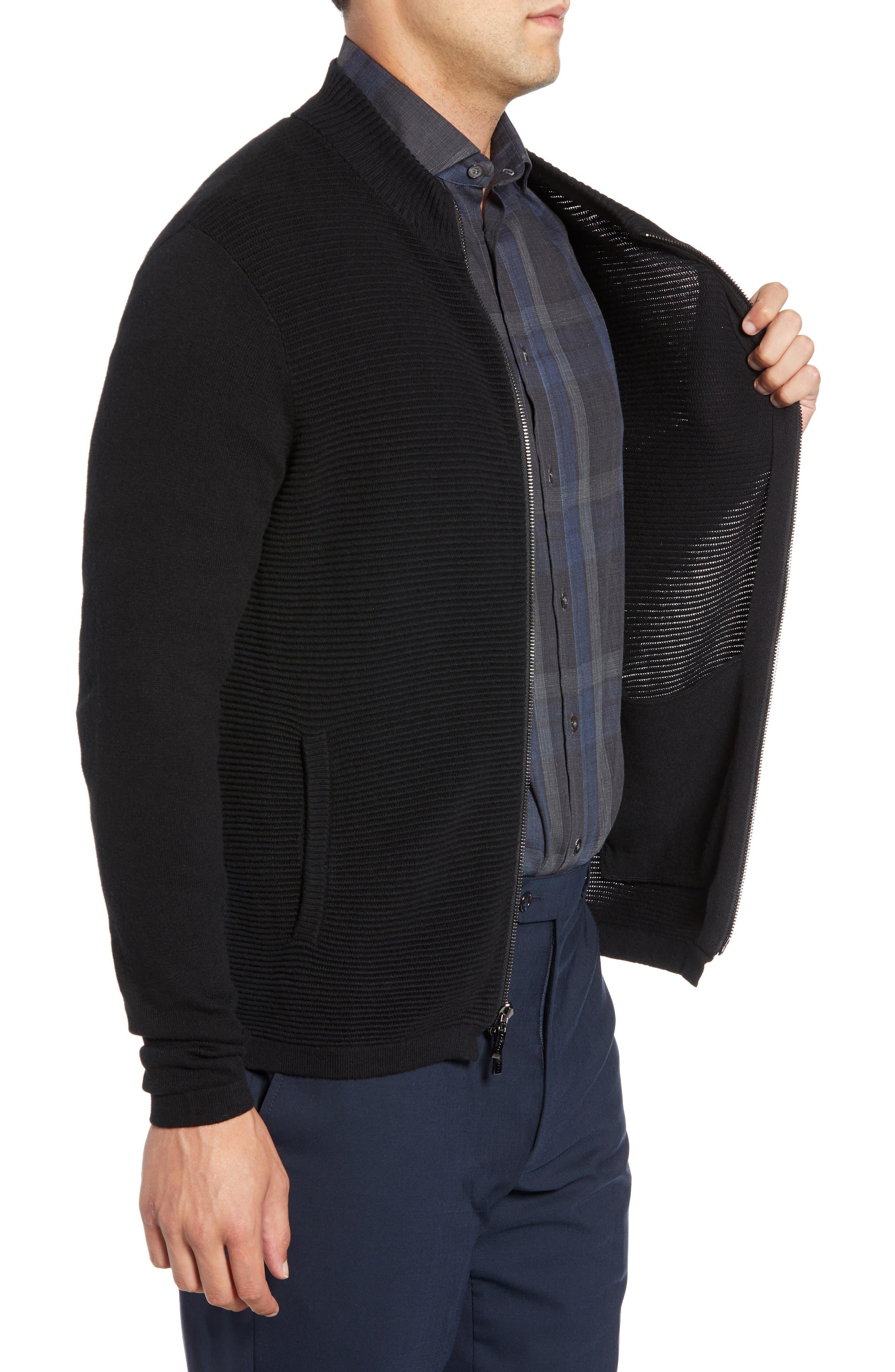 Yorkville Zip Sweater,                             Alternate thumbnail 3, color,                             BLACK