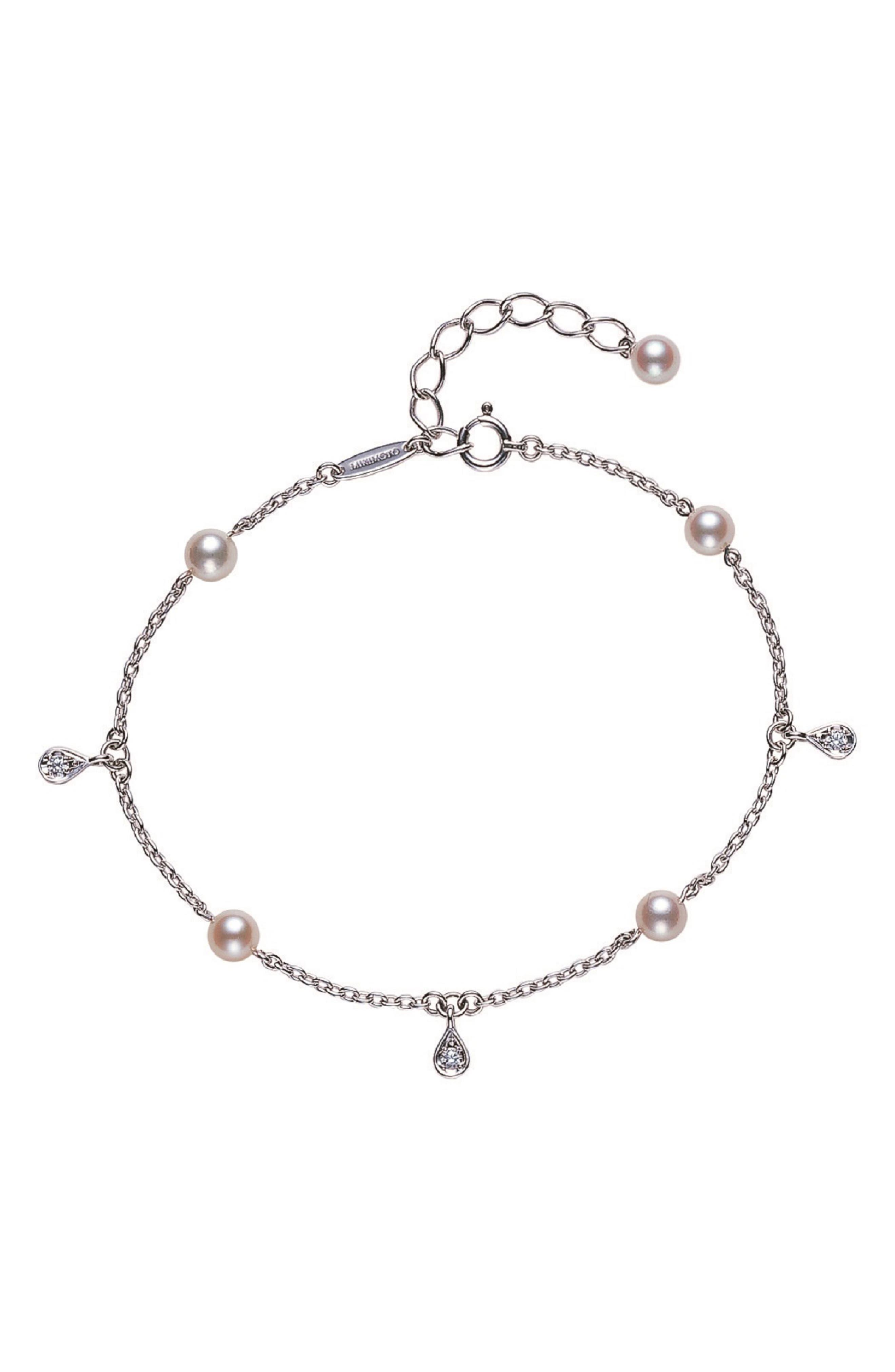 MIKIMOTO Pearl & Diamond Bracelet in White Gold/ Pearl