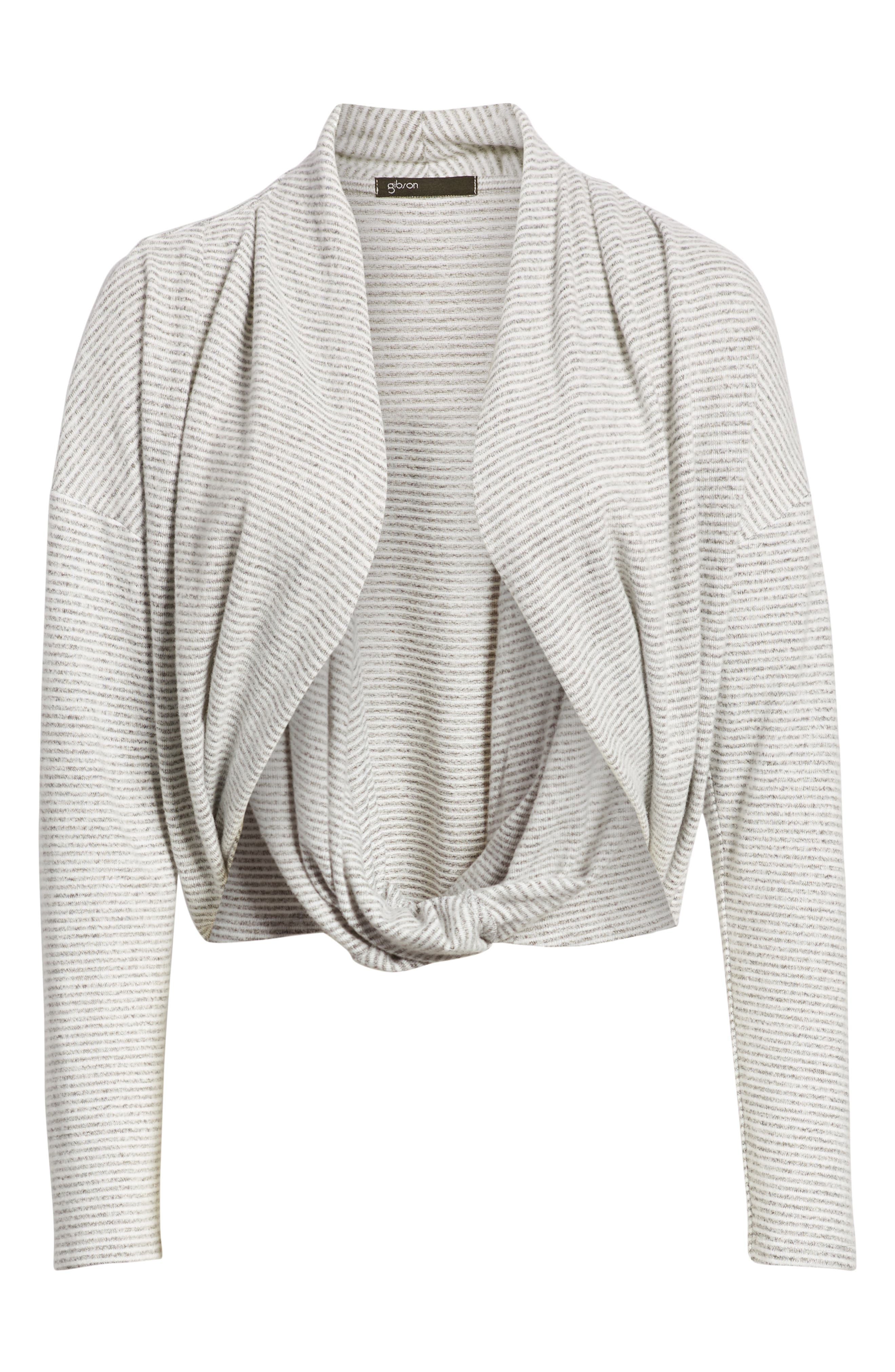 GIBSON,                             x Living in Yellow Diana Cozy Knit Wrap Top,                             Alternate thumbnail 6, color,                             GREY/ IVORY