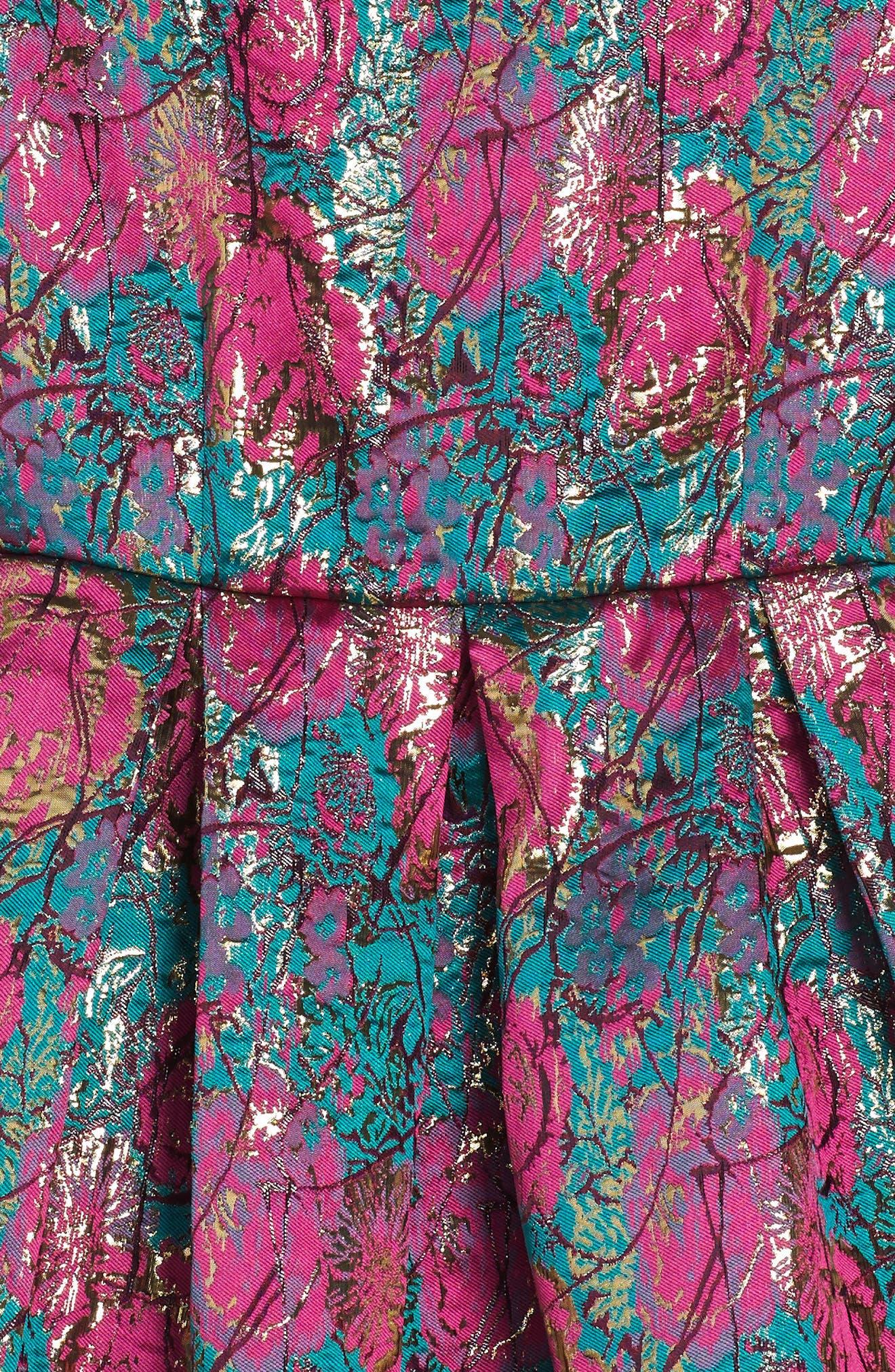 Floral Brocade Fit & Flare Dress,                             Alternate thumbnail 3, color,                             670