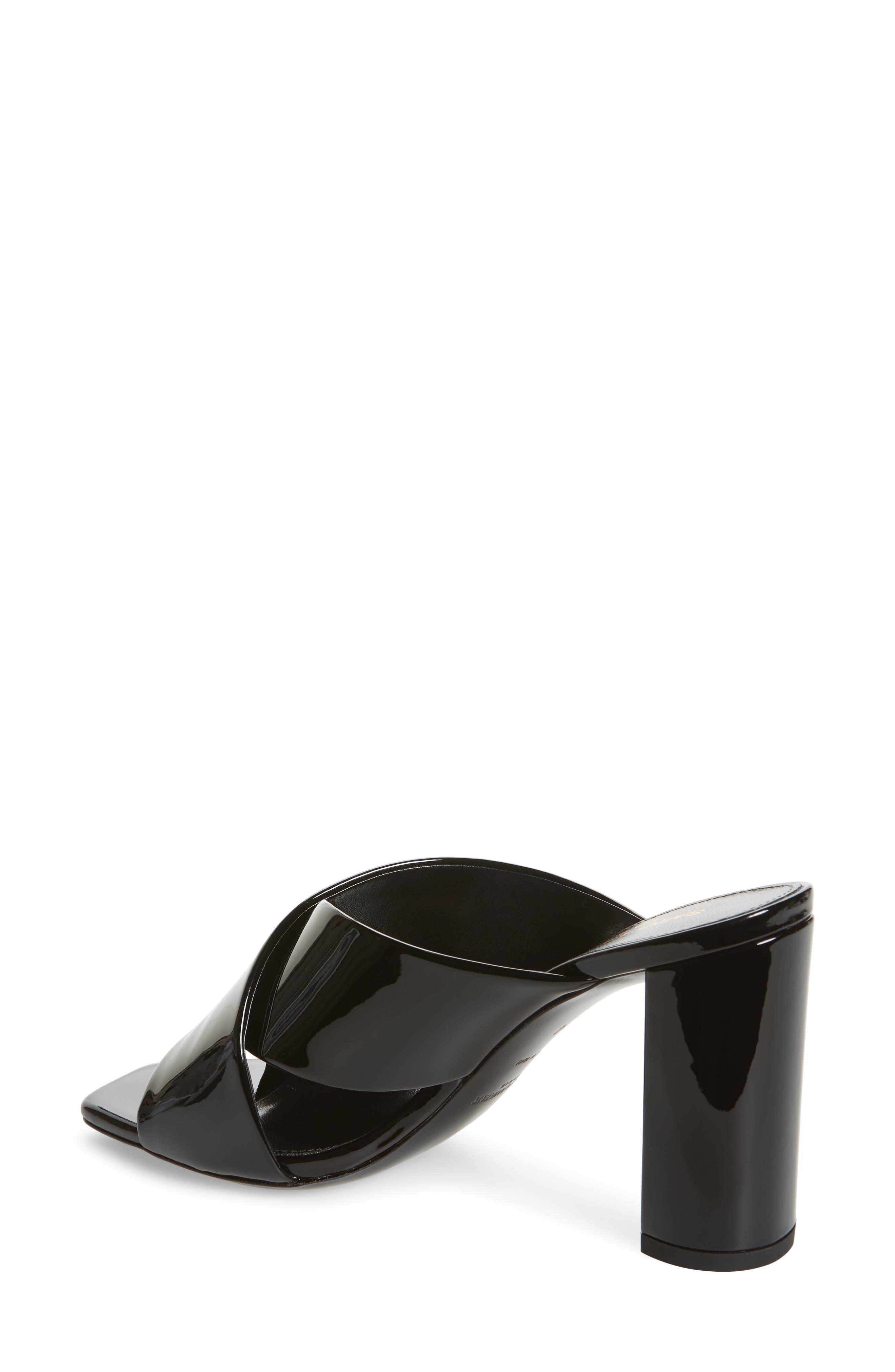 Loulou Slide Sandal,                             Alternate thumbnail 2, color,                             BLACK PATENT