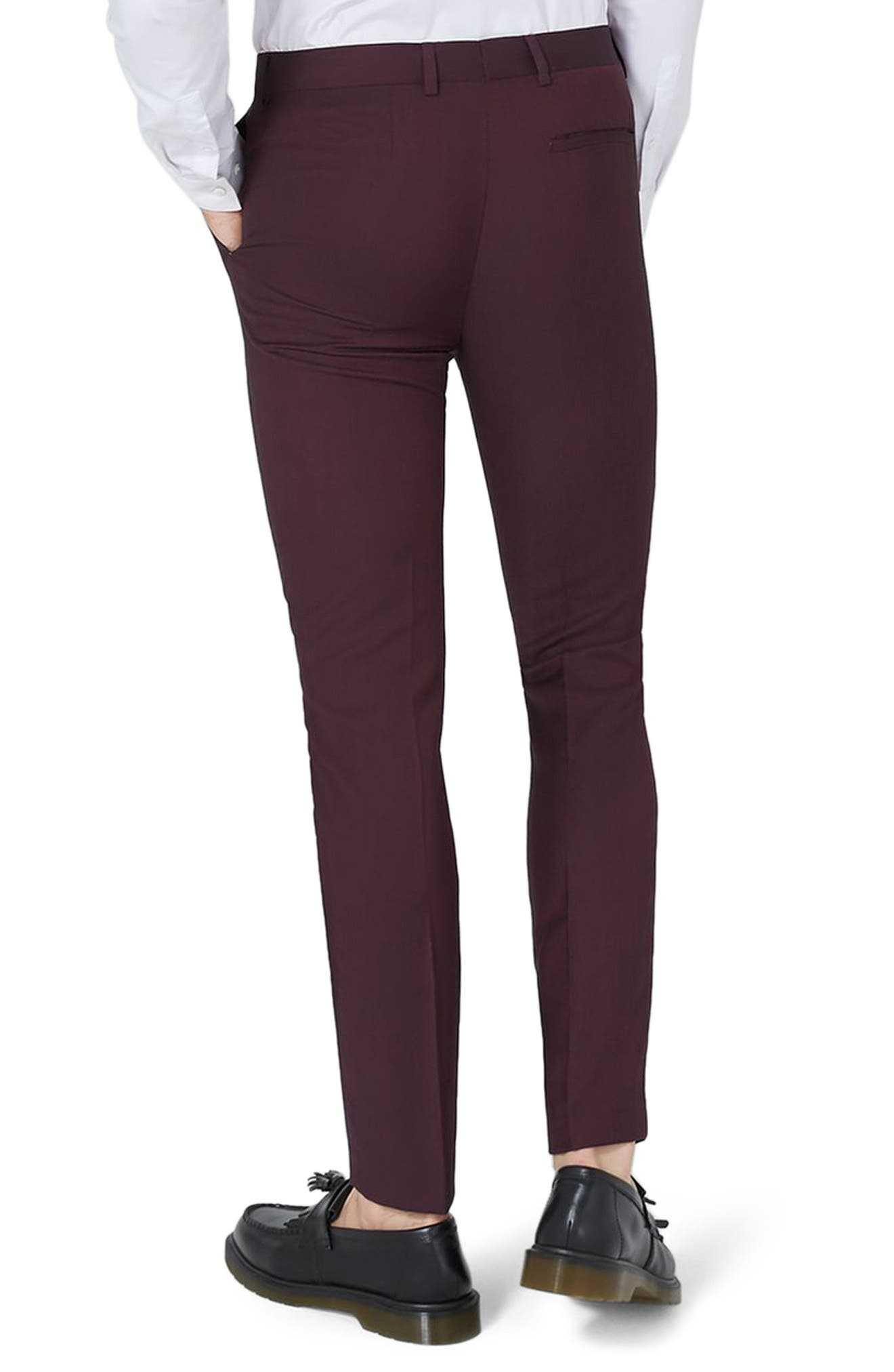 TOPMAN,                             Skinny Fit Plum Suit Trousers,                             Alternate thumbnail 3, color,                             500