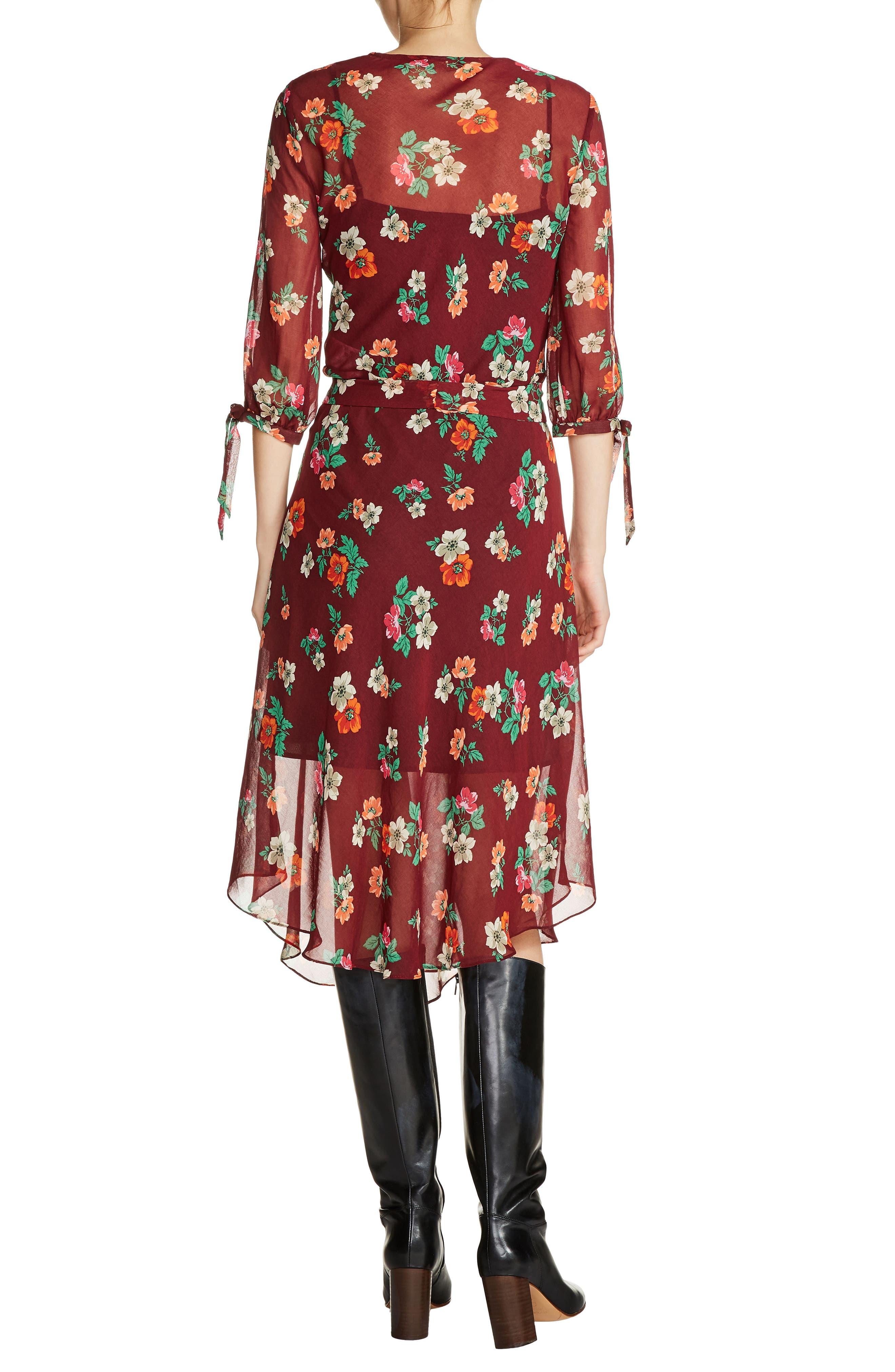 Ruffle Floral Print Faux Wrap Dress,                             Alternate thumbnail 2, color,                             930