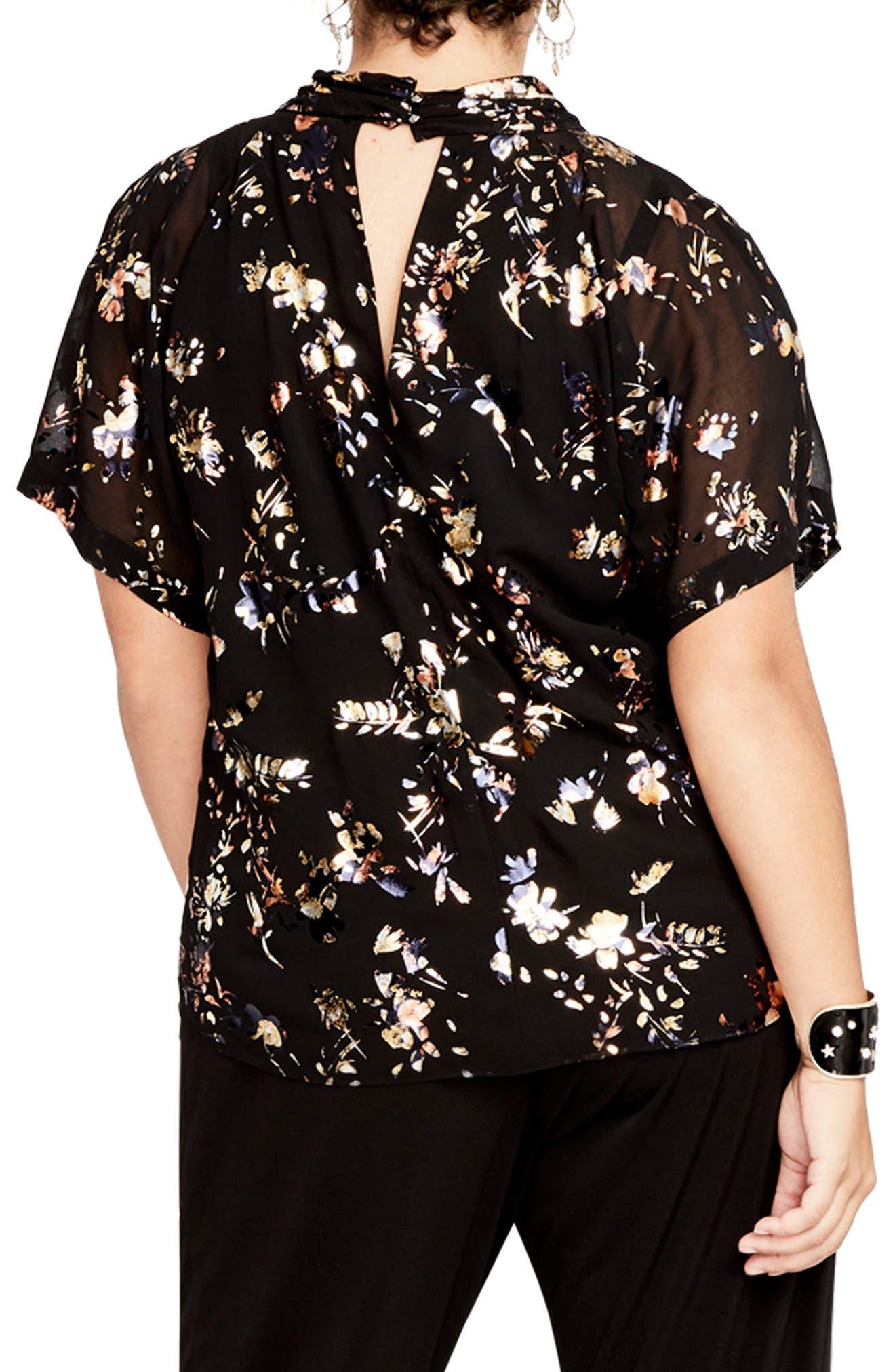Foiled Print Kimono Top,                             Alternate thumbnail 2, color,