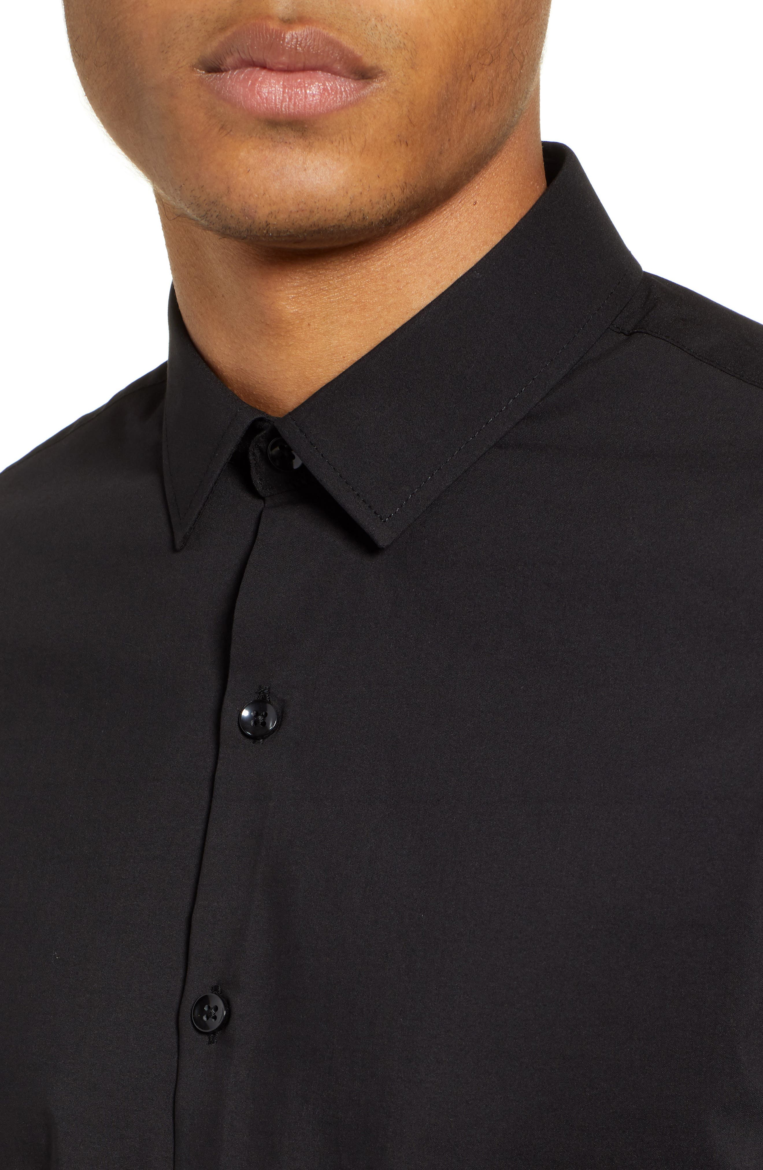 Stretch Woven Shirt,                             Alternate thumbnail 2, color,                             BLACK
