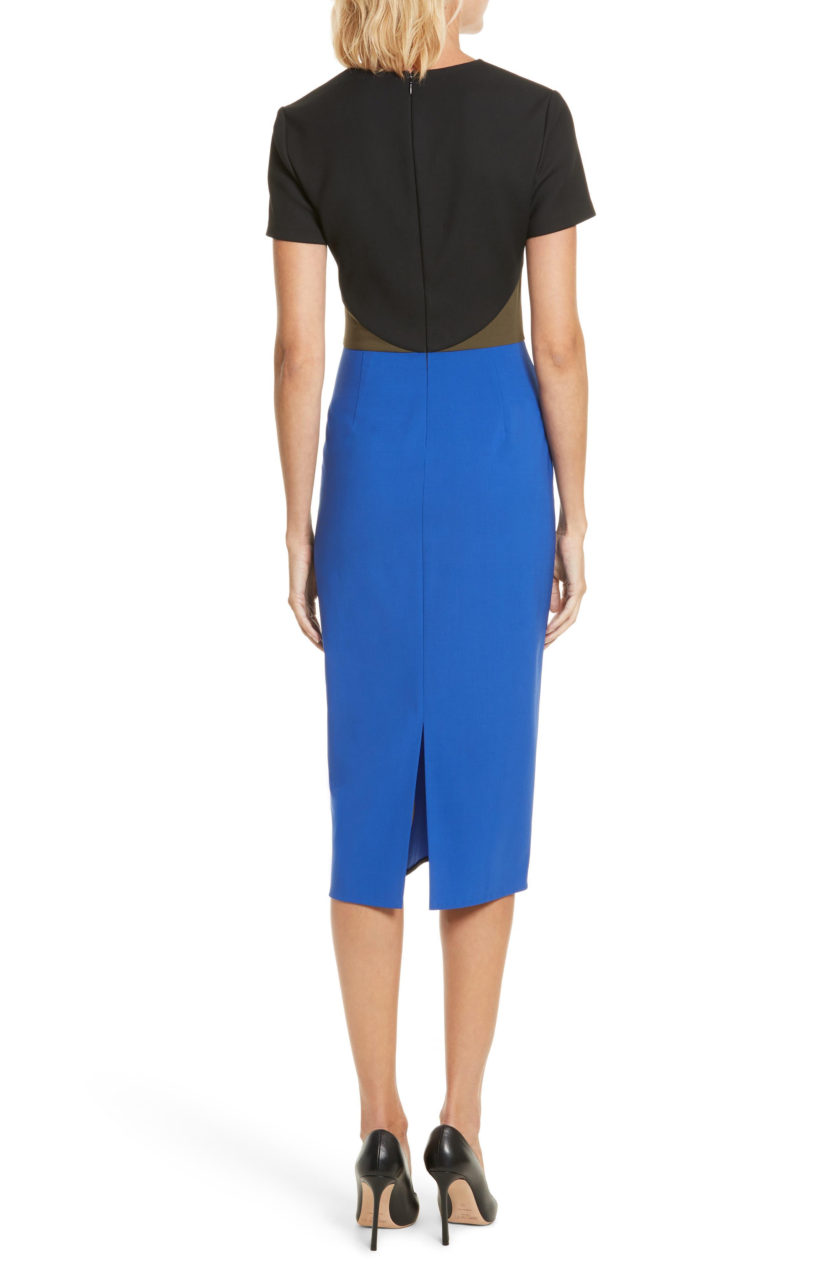 Colorblock Tailored Midi Dress,                             Alternate thumbnail 2, color,