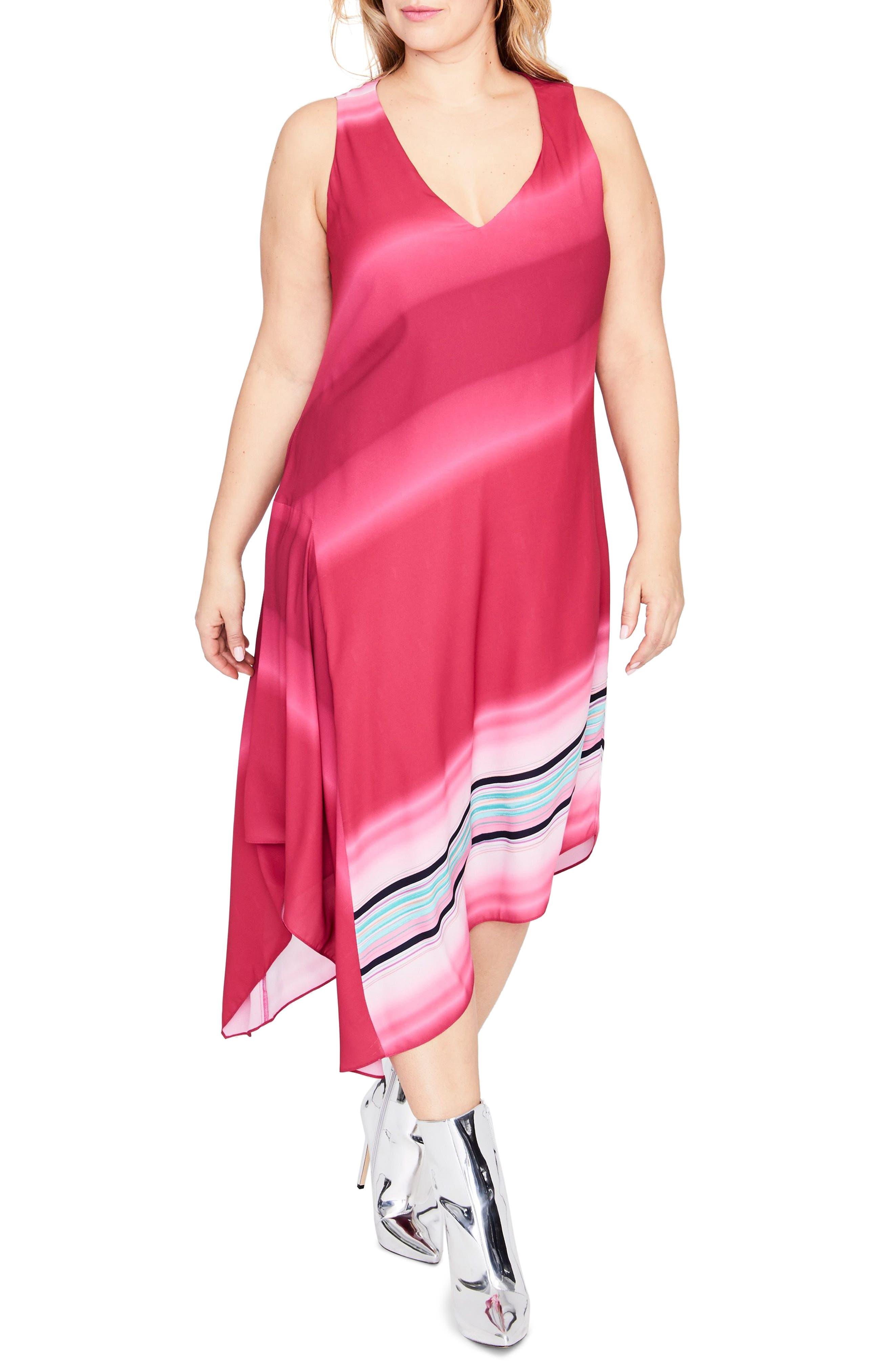 Cami Scarf Midi Dress,                         Main,                         color, AZALEA OMBRE COMBO