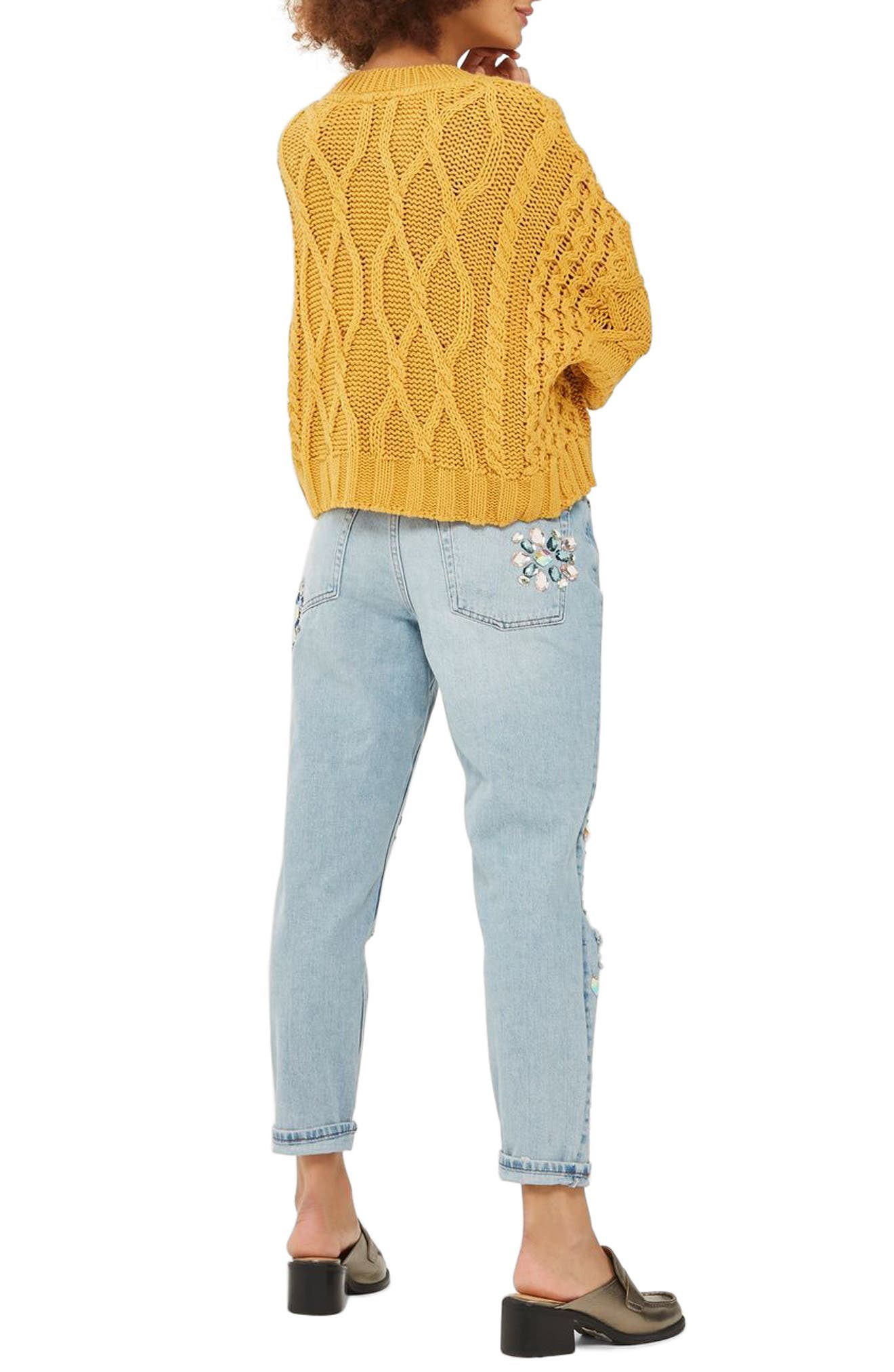 Limited Edition Beaded Mom Jeans,                             Alternate thumbnail 2, color,                             401