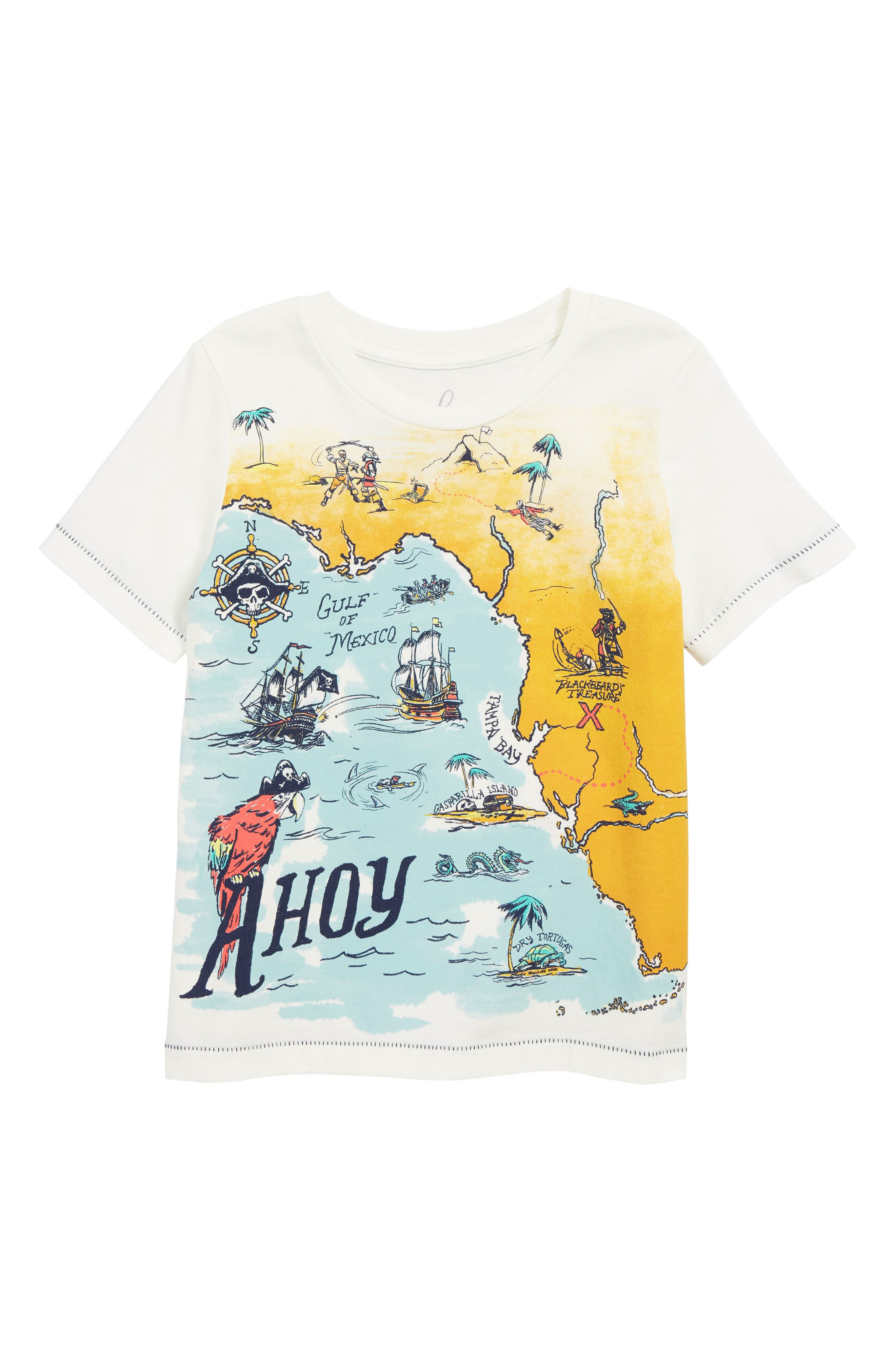 PEEK AREN'T YOU CURIOUS,                             Pirate Map T-Shirt,                             Main thumbnail 1, color,                             IVORY