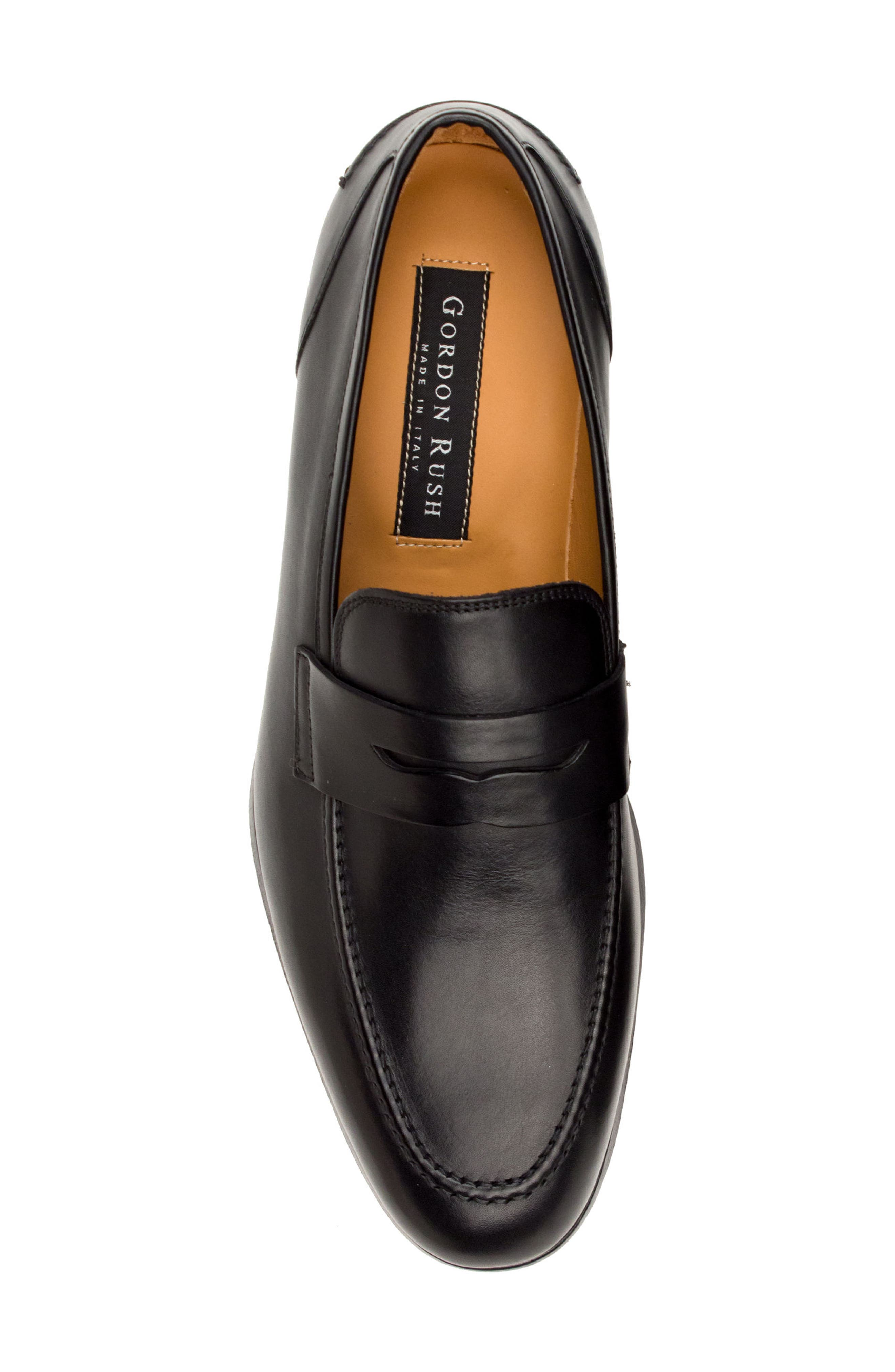 Coleman Apron Toe Penny Loafer,                             Alternate thumbnail 5, color,                             BLACK LEATHER