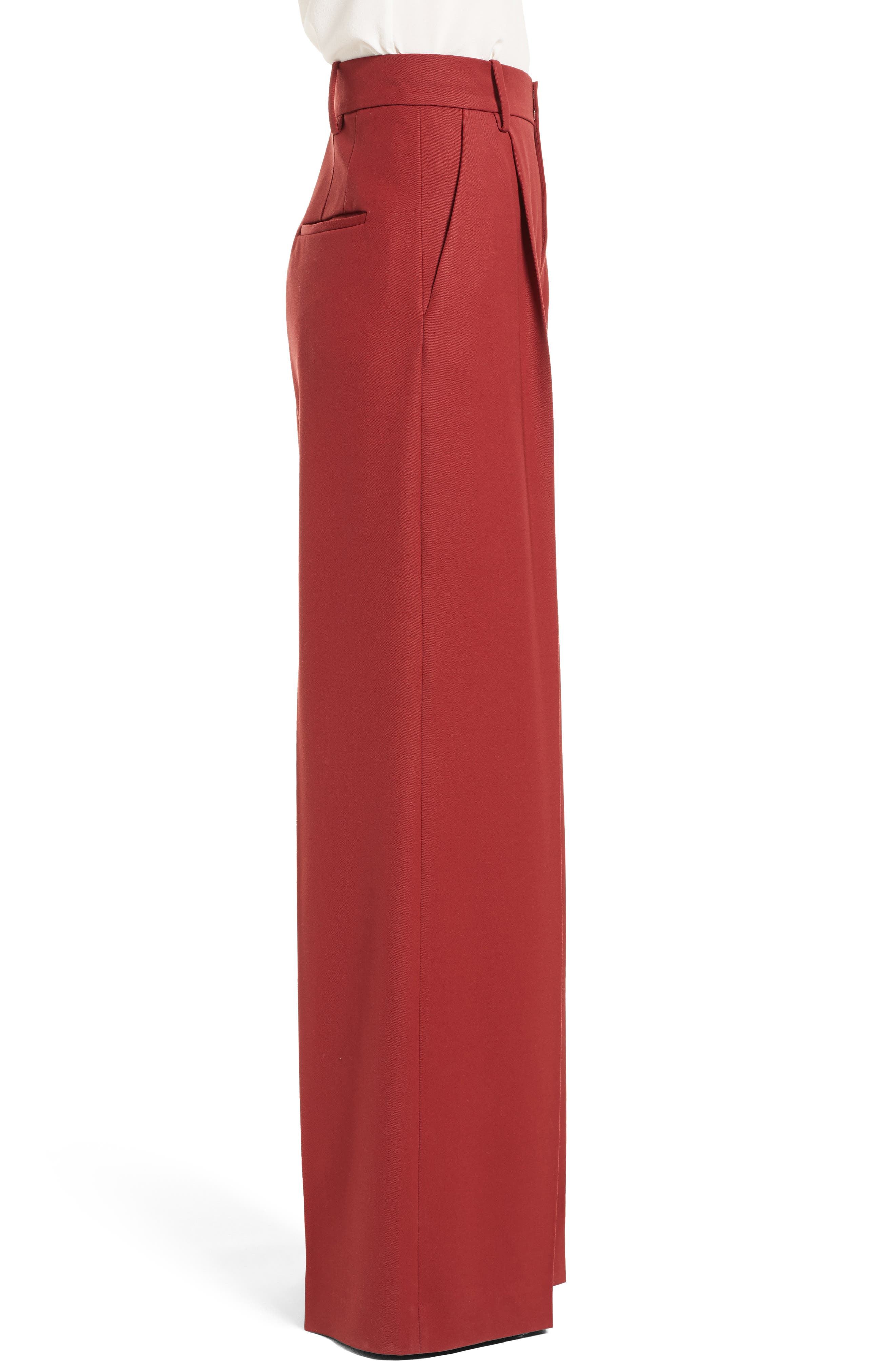 Stretch Wool Wide Leg Pants,                             Alternate thumbnail 3, color,                             930