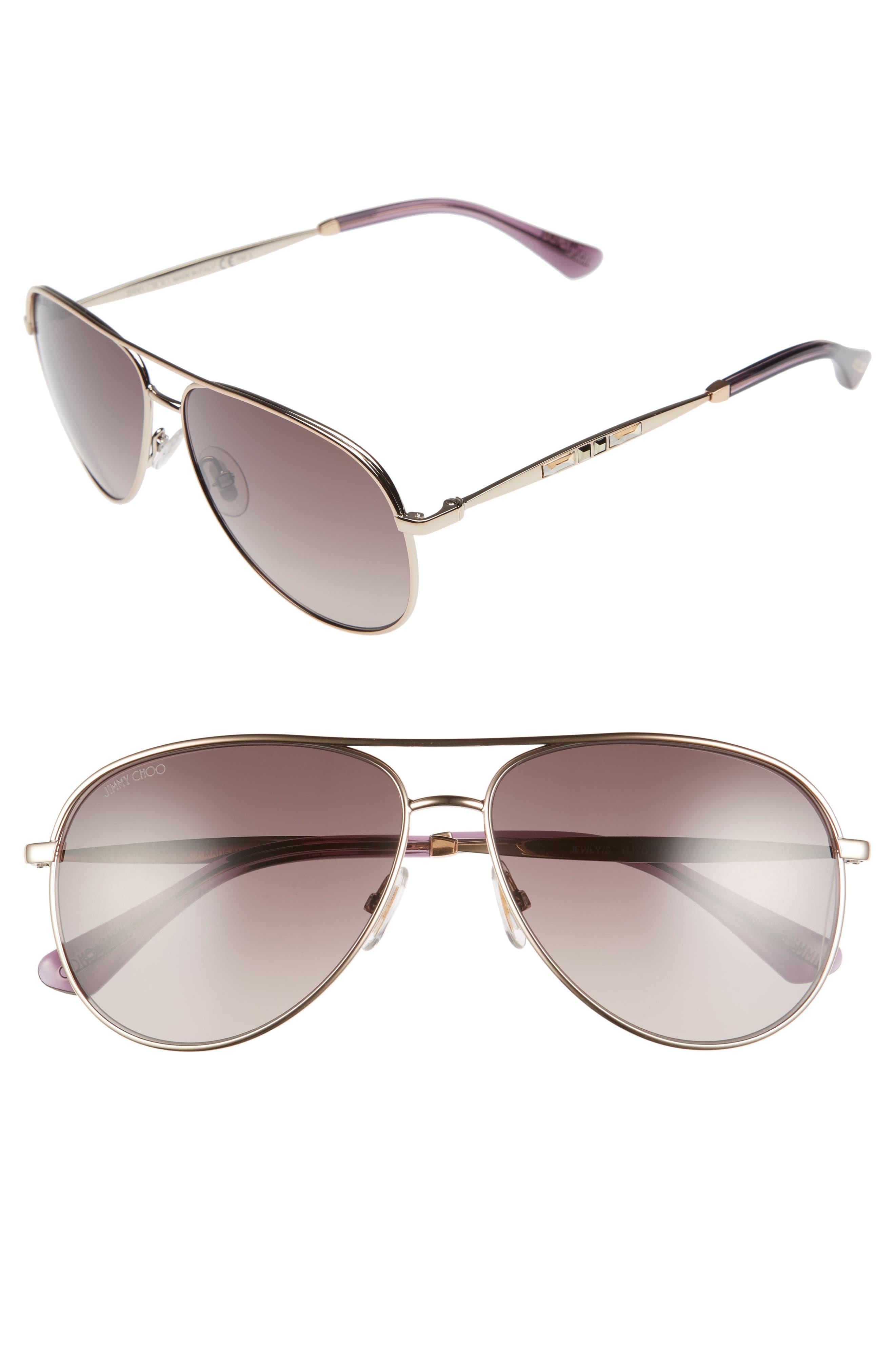 Jewlys 58mm Aviator Sunglasses,                             Main thumbnail 1, color,                             220