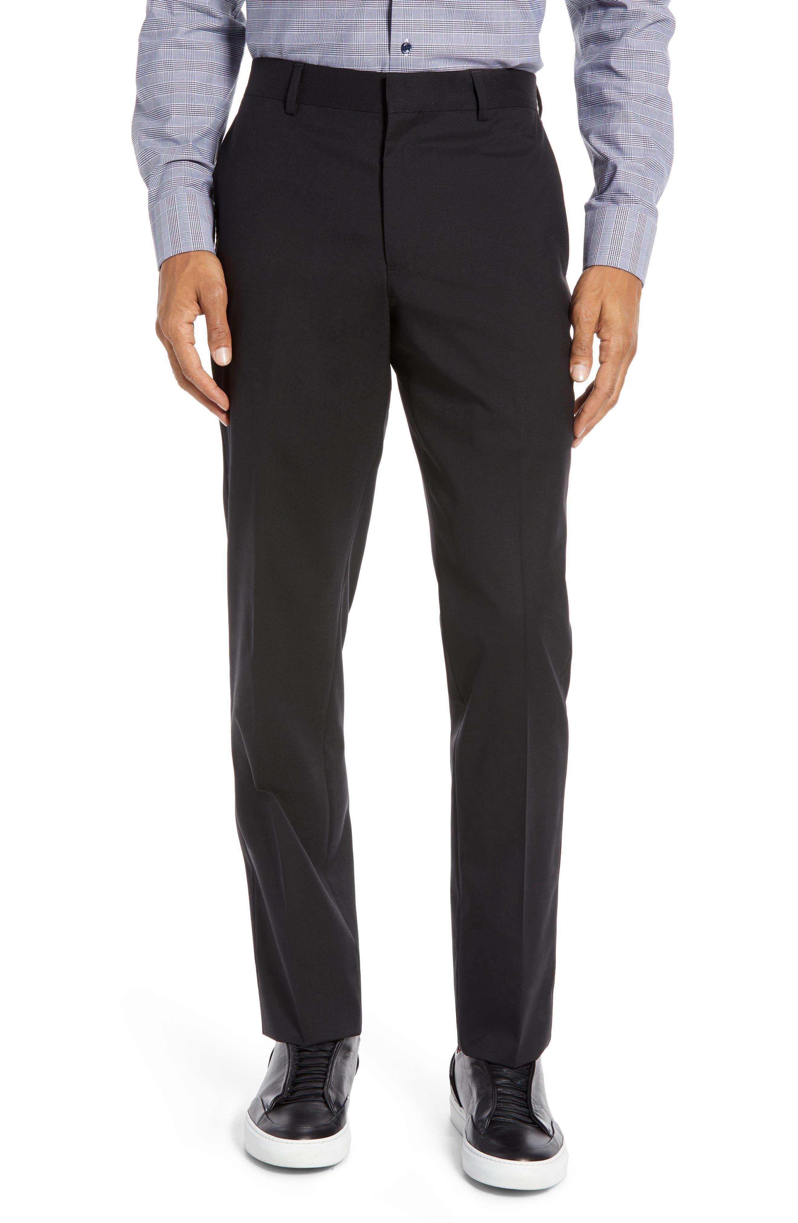 NORDSTROM MEN'S SHOP Tech-Smart Trim Fit Stretch Wool Travel Trousers, Main, color, BLACK