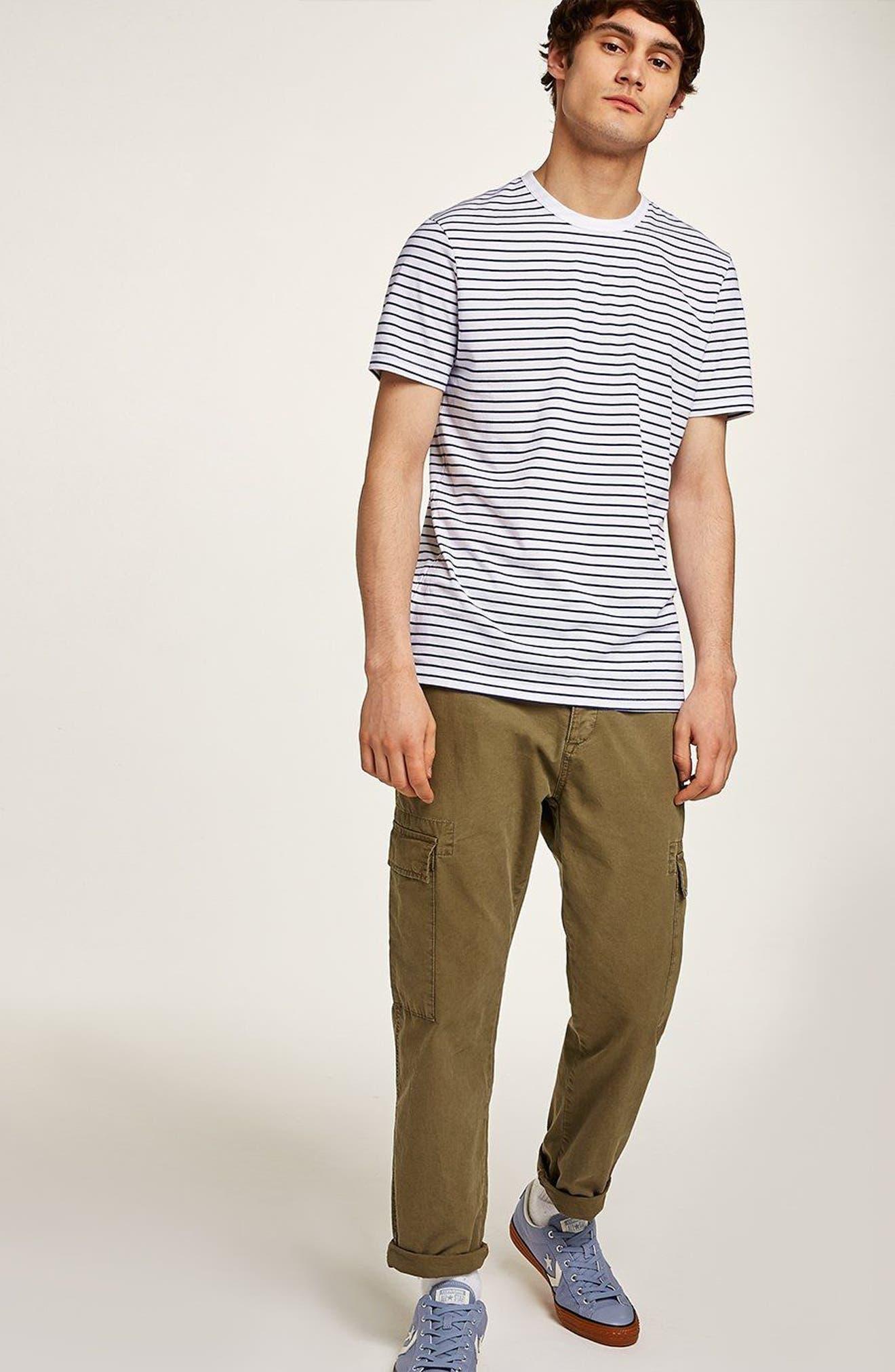 Slim Fit Stripe T-Shirt,                             Alternate thumbnail 5, color,                             DARK BLUE MULTI