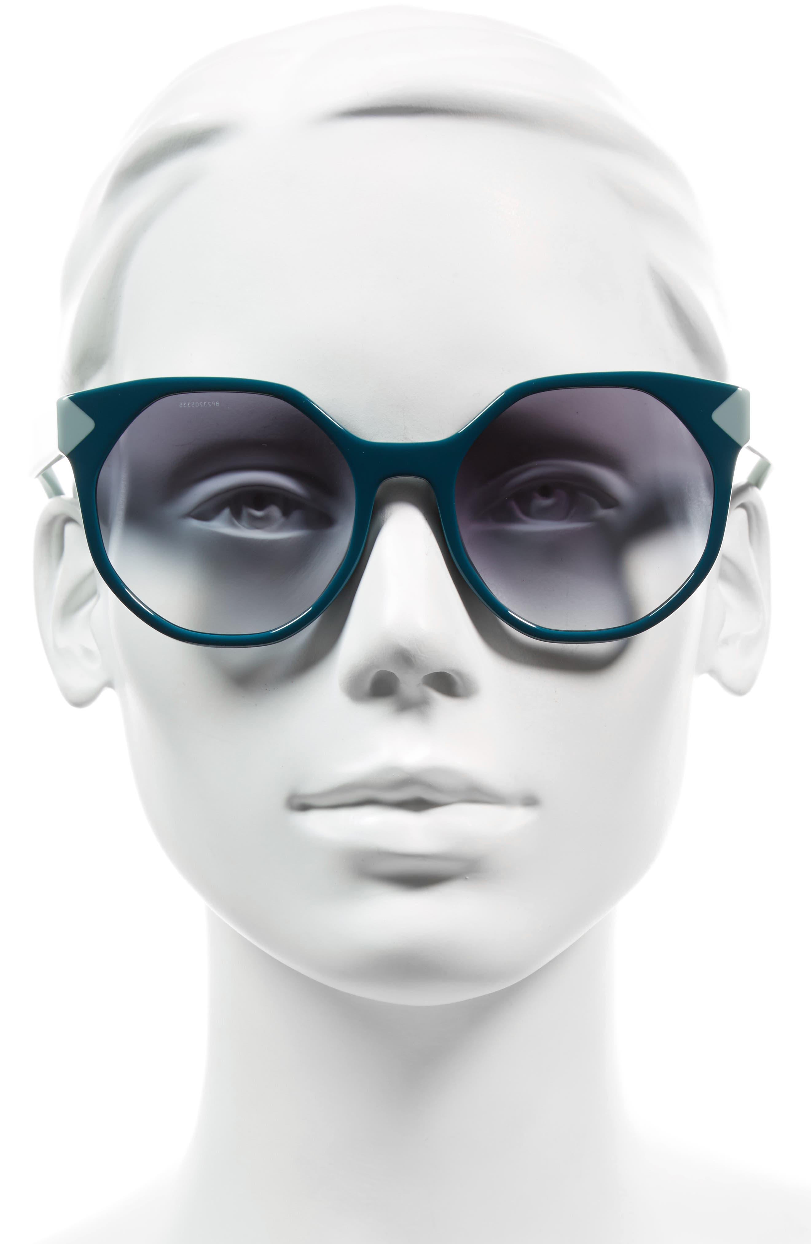 55mm Gradient Geometric Sunglasses,                             Alternate thumbnail 5, color,