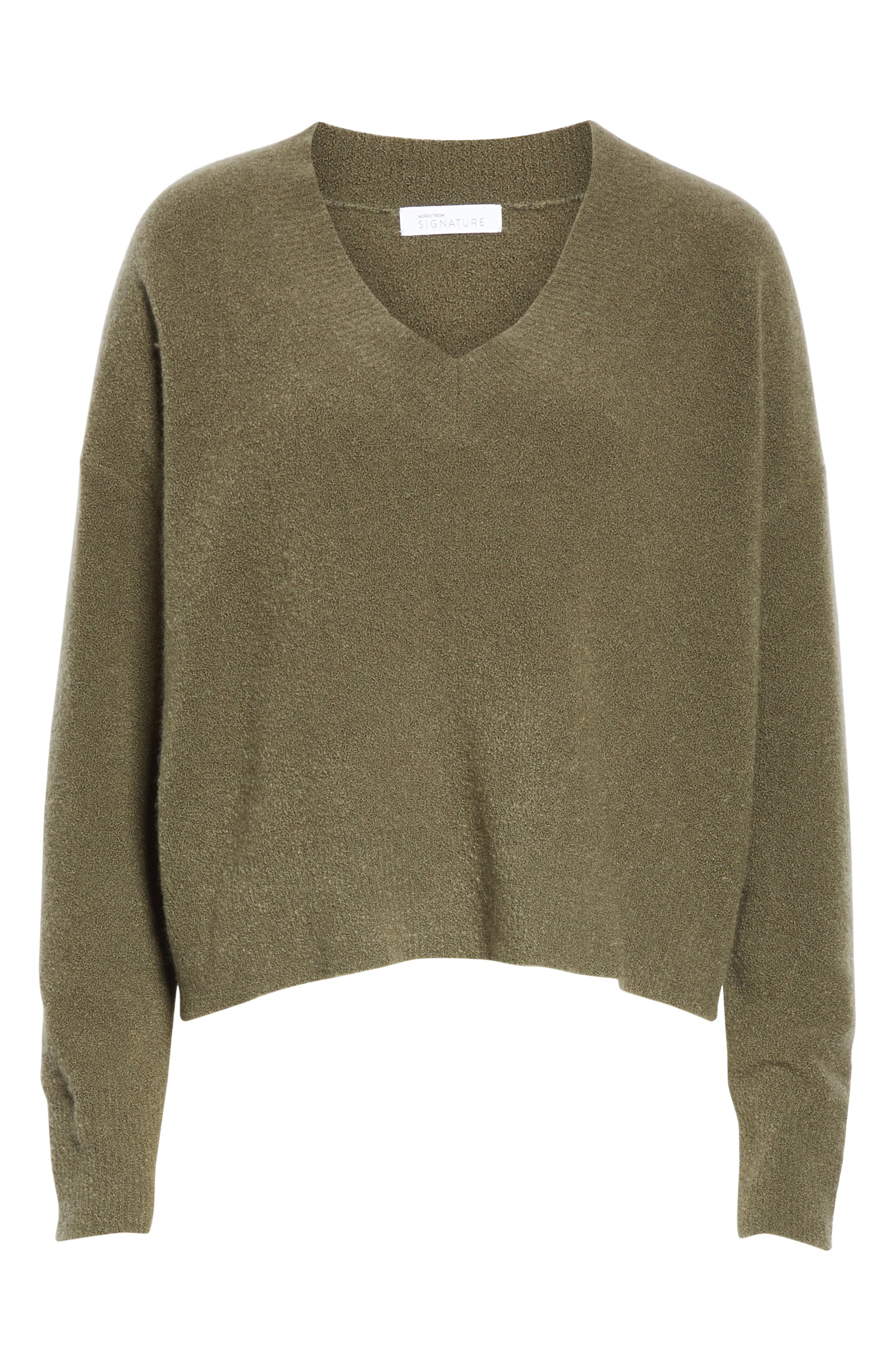 Cashmere Blend Bouclé Sweater,                             Alternate thumbnail 6, color,                             OLIVE IVY HEATHER