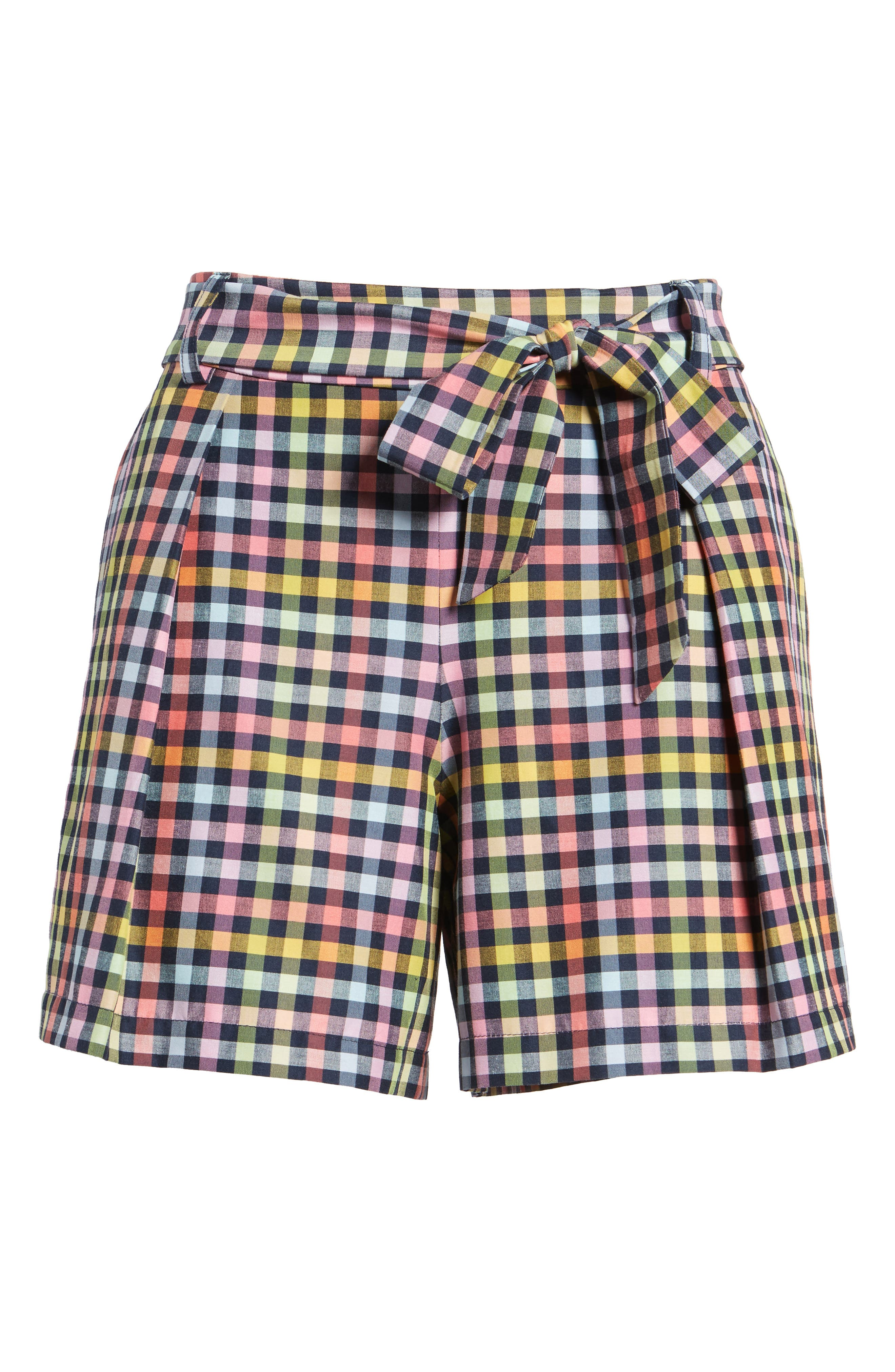 Pleated Plaid Bow Tie Shorts,                             Alternate thumbnail 6, color,                             410